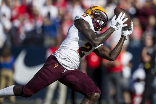 Arizona State's Brandon Aiyuk catches a touchdown against Arizona during the first half of the Territorial Cup on Saturday, Nov. 24, 2018, at Arizona Stadium in Tucson, Ariz.