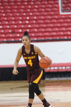 ASU guard Kiara Russell takes the ball up the court during a game against No. 5 Louisville.