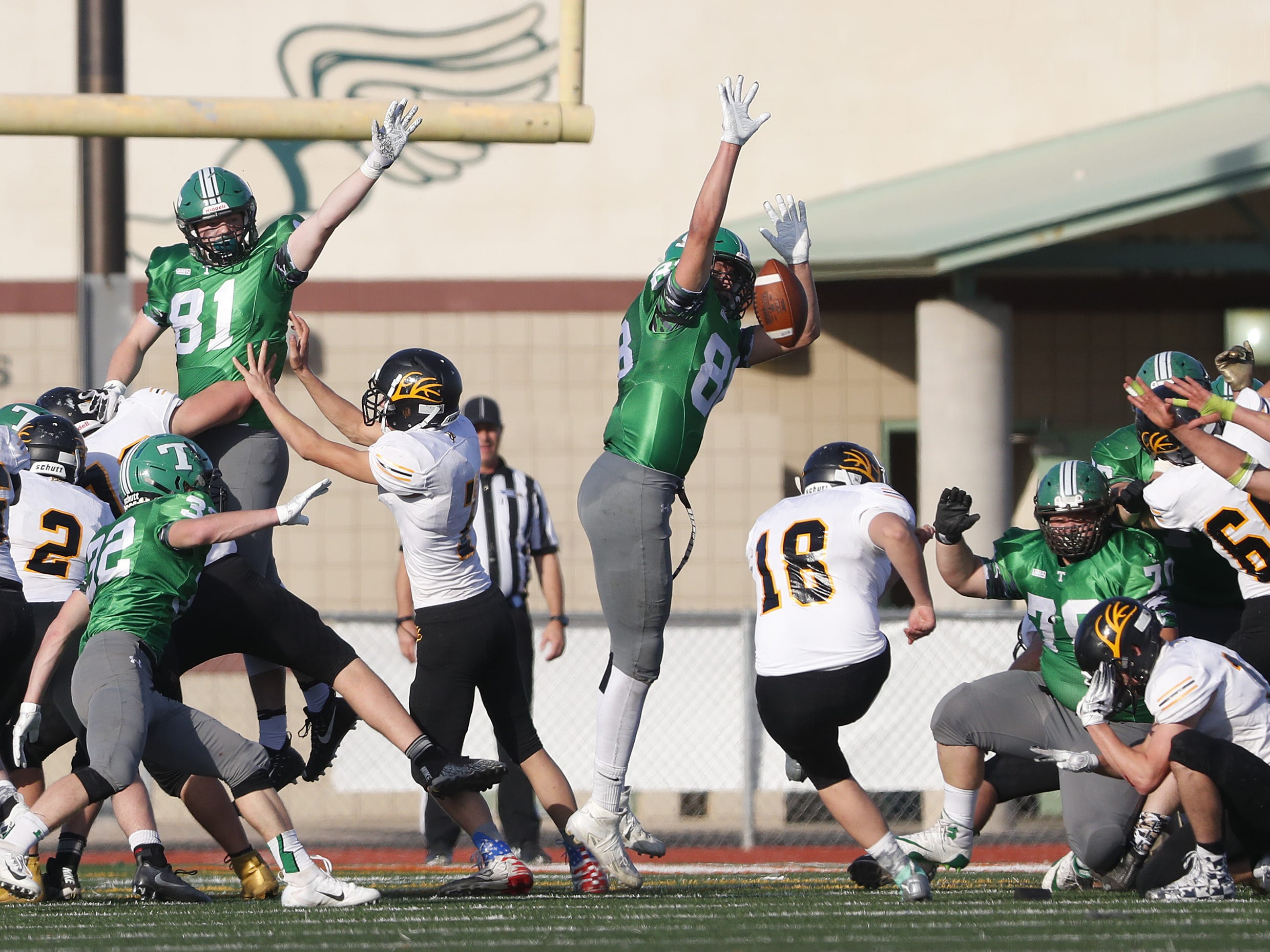 Thatcher's Cole Motes (88) blocks a field goal from Round Valley's Sergio Camunez (18) during the 2A State Championship Football game at Campo Verde High School in Gilbert, Ariz. on November 23, 2018.