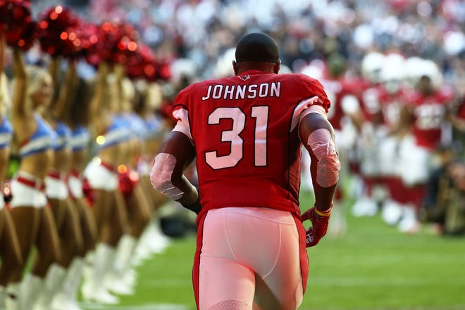 Arizona Cardinals' David Johnson takes the field against the Oakland Raiders in the first half during a game Nov. 18 at State Farm Stadium.