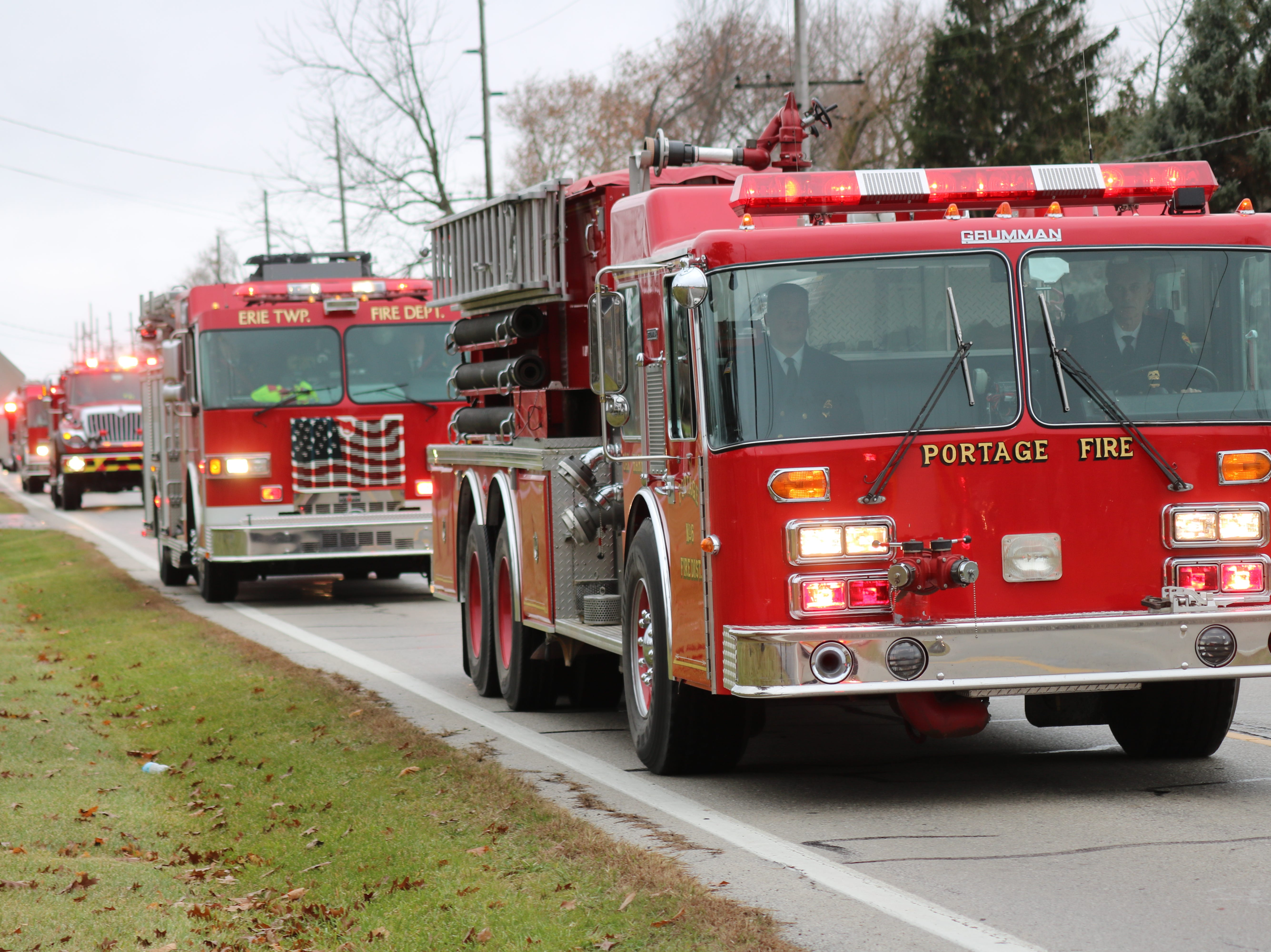Fellow firefighters from throughout Ottawa County and the surrounding area gathered in Oak Harbor on Saturday for the funeral of Carroll Township firefighter Daniel Lucius.