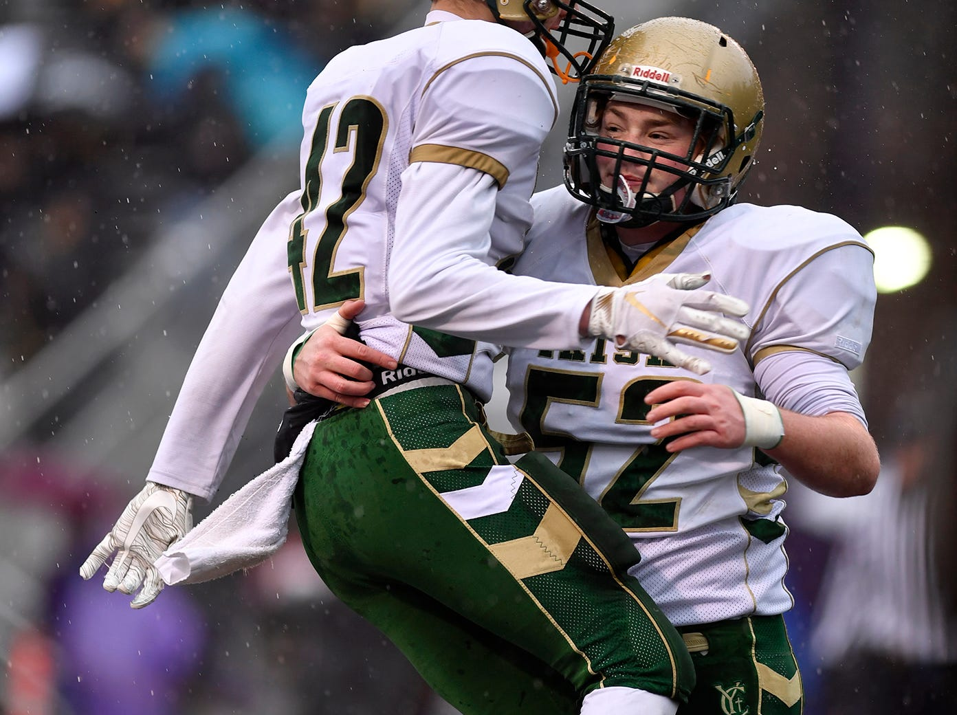York Catholic's Benjamin Nelson, left, and Luke Brauer celebrate Nelson's touchdown agains Southern Columbia during the PIAA Class 2-A quarterfinal football game in Shamokin, Saturday, November 24, 2018. 