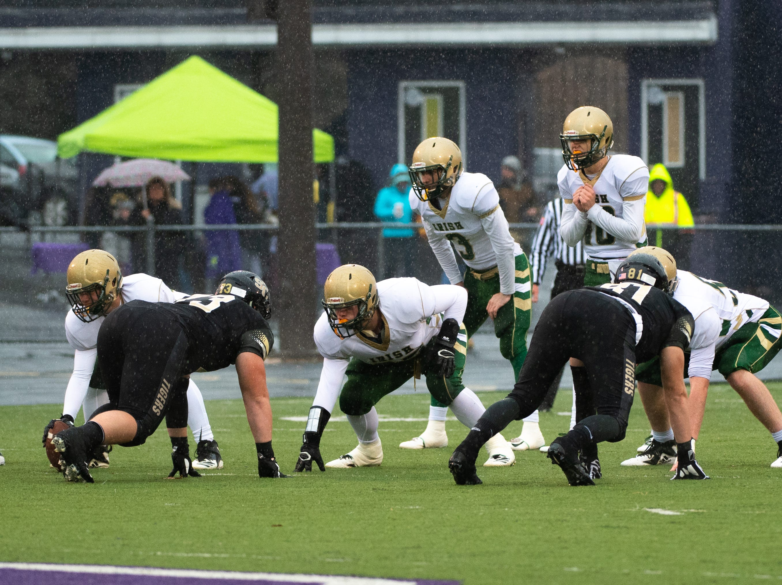 York Catholic prepares to snap the ball during the state quarter-finals game at Shamokin Area High School, November 24, 2018. The Tigers defeated the Irish 56-23.