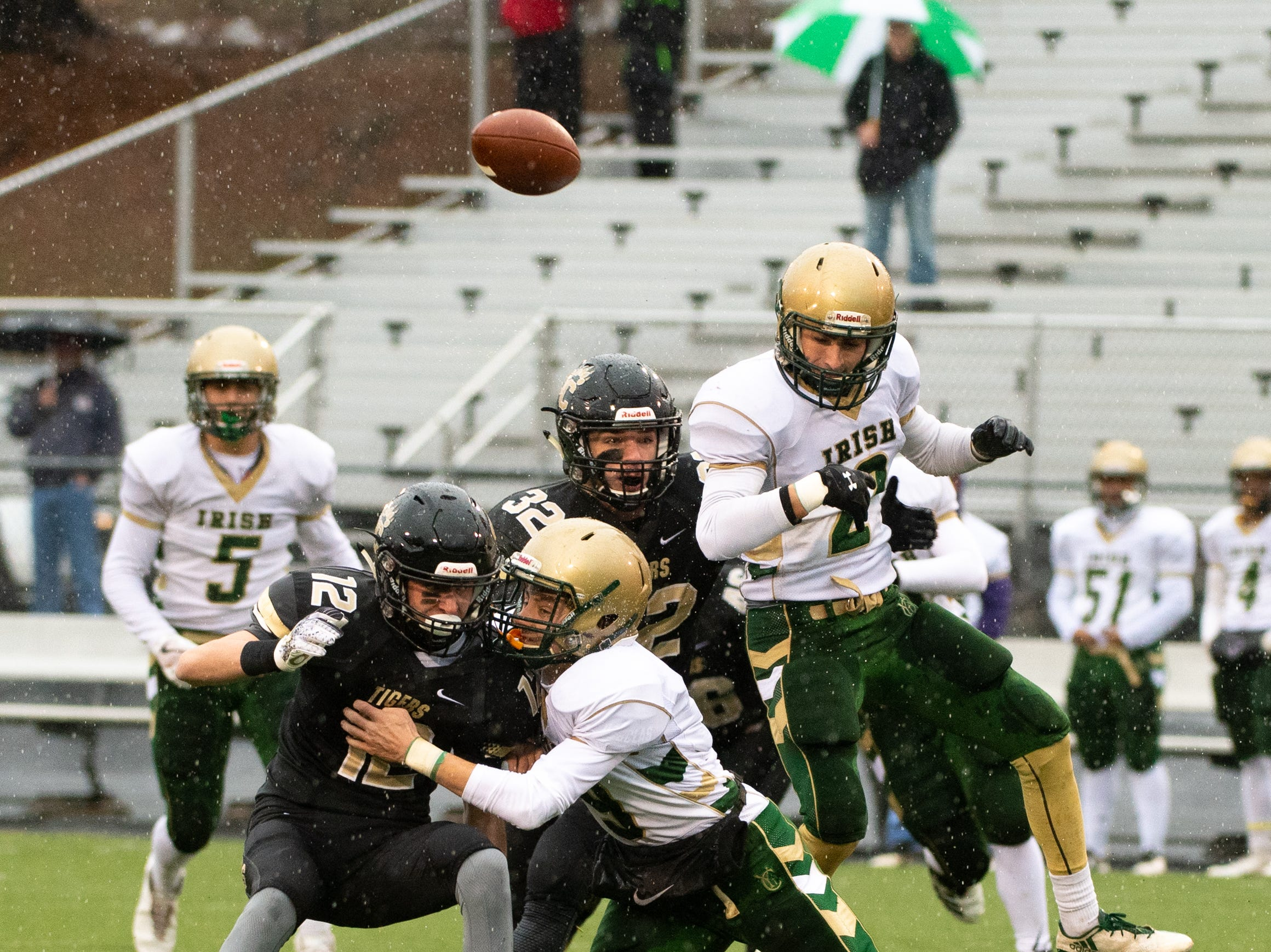 York Catholic fumbles the ball during the state quarter-finals game between York Catholic and Southern Columbia at Shamokin Area High School, November 24, 2018. The Tigers defeated the Irish 56-23.