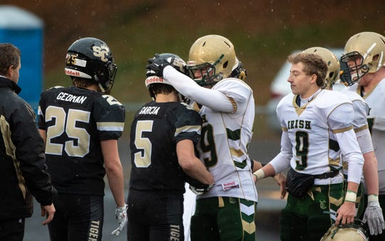 York Catholic and Southern Columbia - one a private school and one public - battled in a PIAA Class 2A quarterfinal football game in 2018.