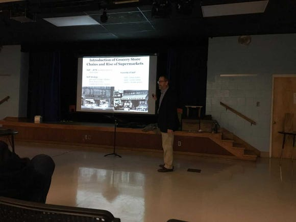 Don Linebaugh tells an audience at the Stewartstown Historical Society about canneries in York County.