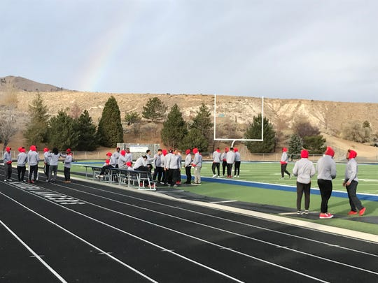 Bishop Manogue plays Arbor View on Saturday.  Arbor View players got a look at the McQueen field on Friday.