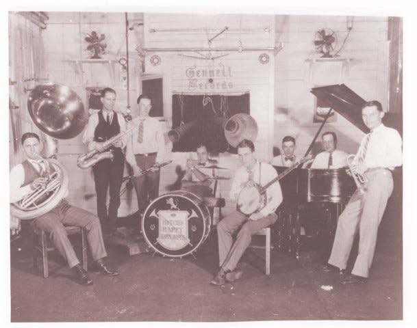 Hitch's Happy Harmonists plays at Gennett Records in Richmond in 1926. Hoagy Carmichael is pictured third from right.