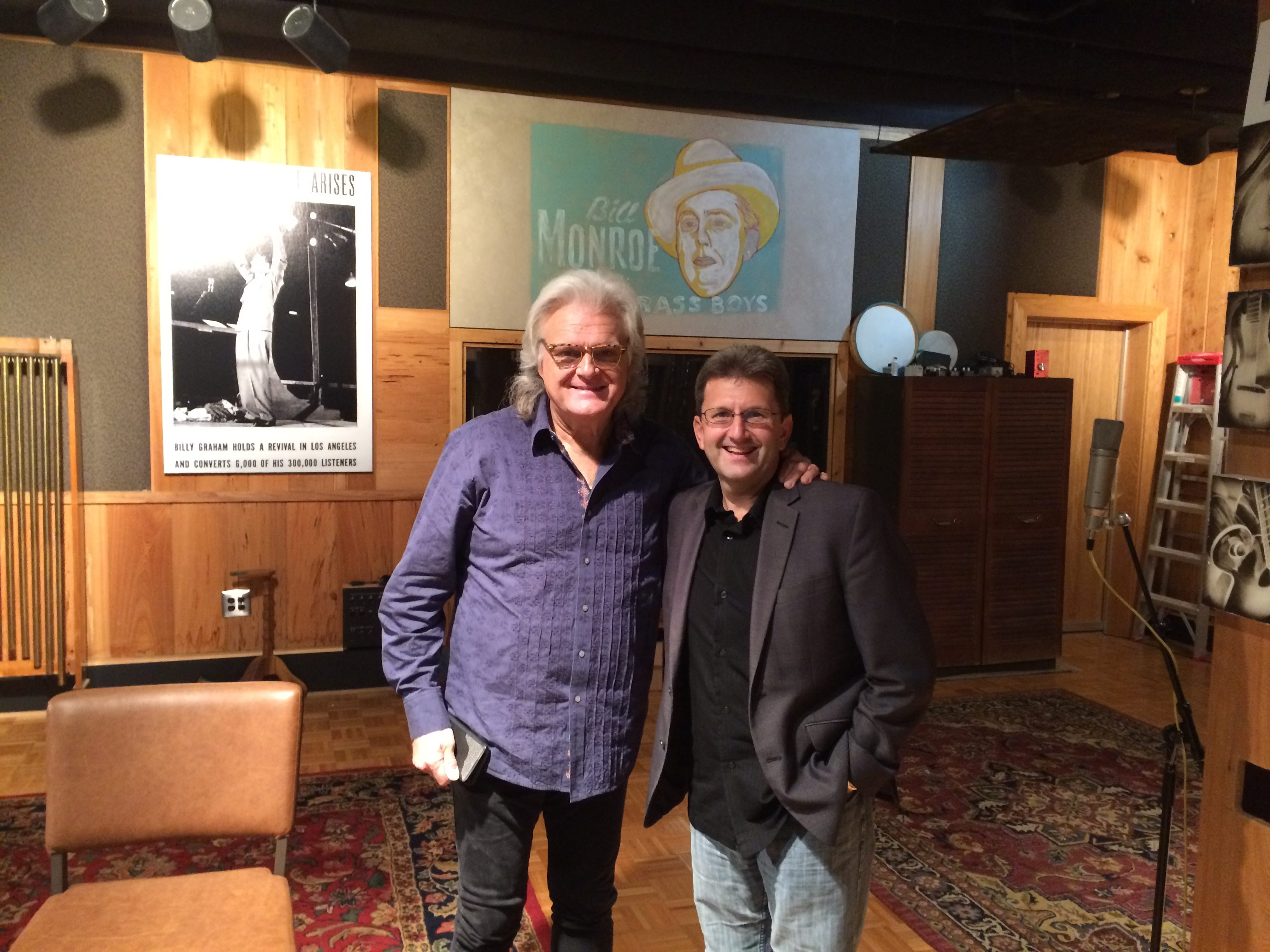 "Director Todd Gould (right) stands beside country artist Ricky Skaggs, who was interviewed for the documentary, ""The Music Makers of Gennett."""
