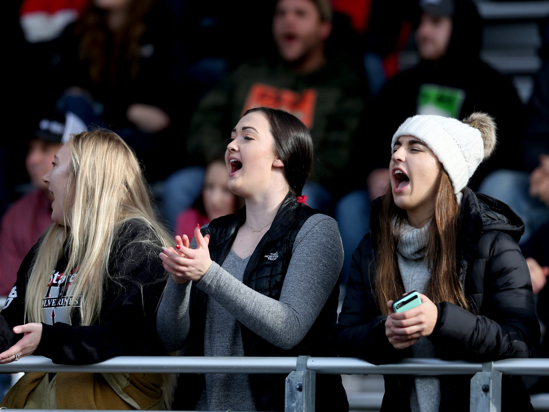 Santiam fans cheer in the Kennedy vs. Santiam OSAA Class 2A state championship football game at Cottage Grove High School in Cottage Grove on Saturday, Nov. 24, 2018.