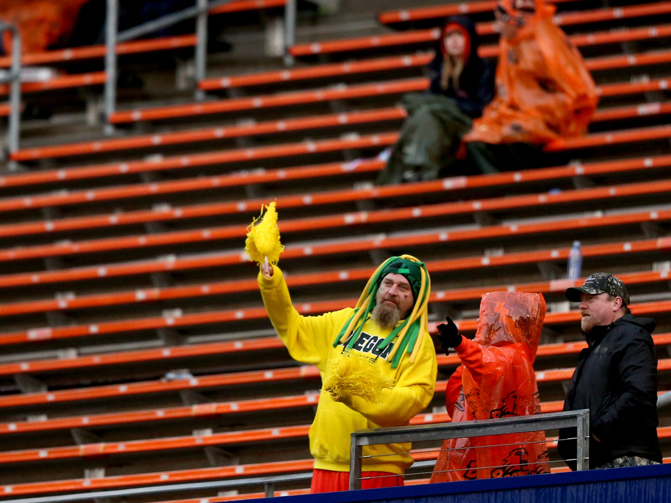 The stands are mostly empty in the fourth quarter of the Oregon vs. Oregon State Civil war football game at Oregon State University in Corvallis on Friday, Nov. 23, 2018. The Ducks won the game 55-15.