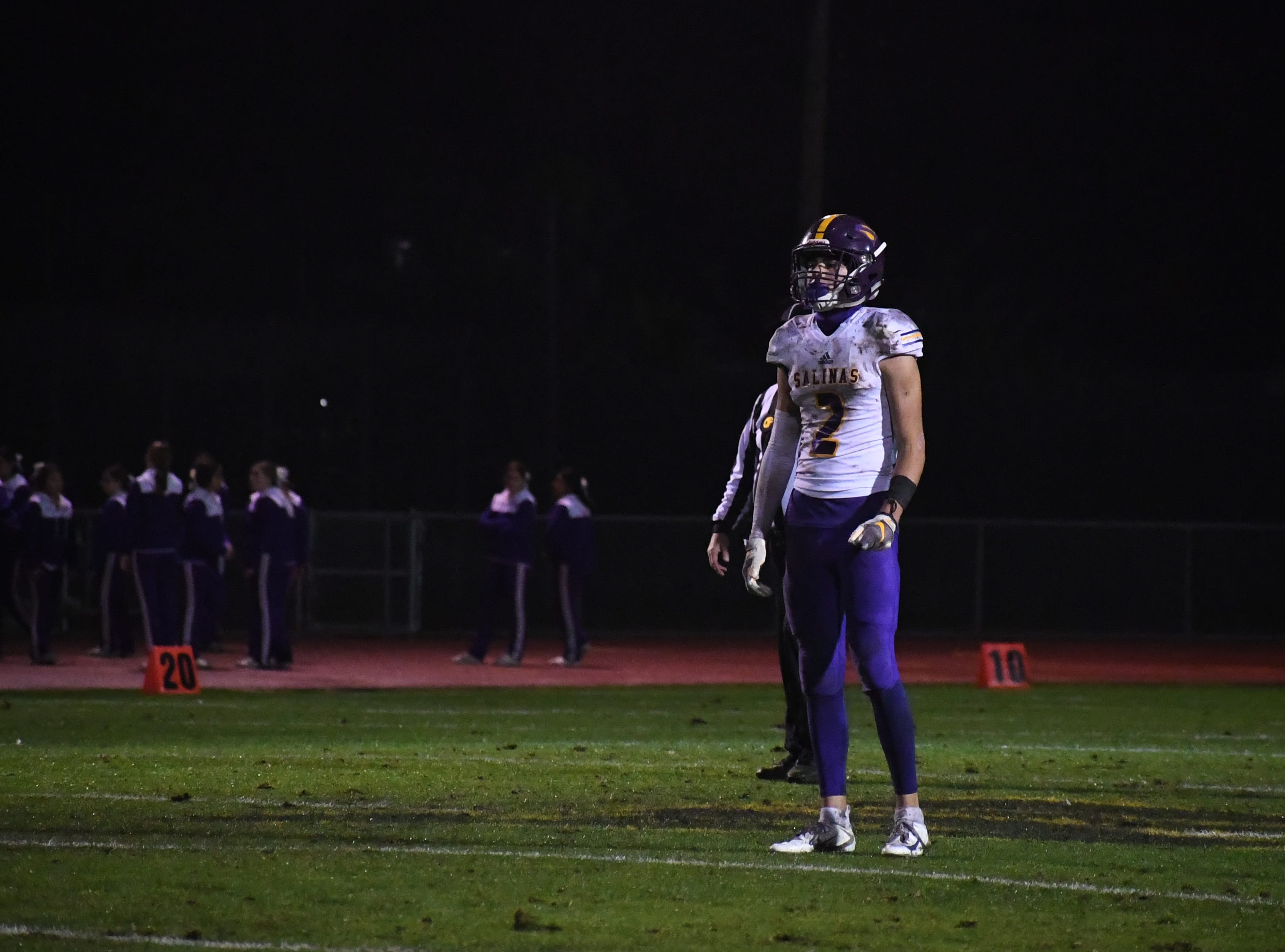 Wide receiver Zachary Robison (2) waits for a punt.
