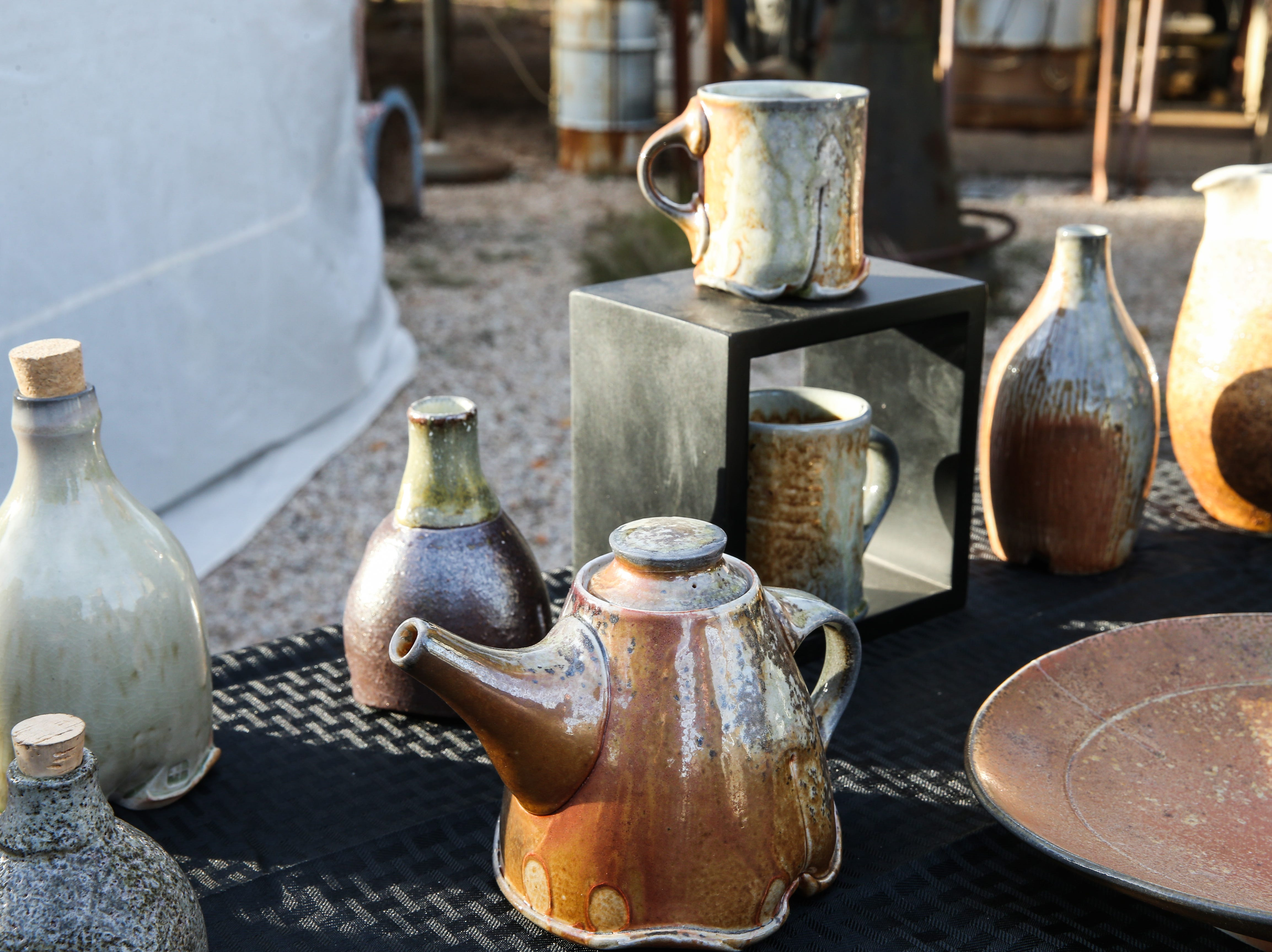 Pottery by Horacio Casillas on display during the Thanksgiving Open House Friday, Nov. 23, 2018, at the Chicken Farm Art Center.
