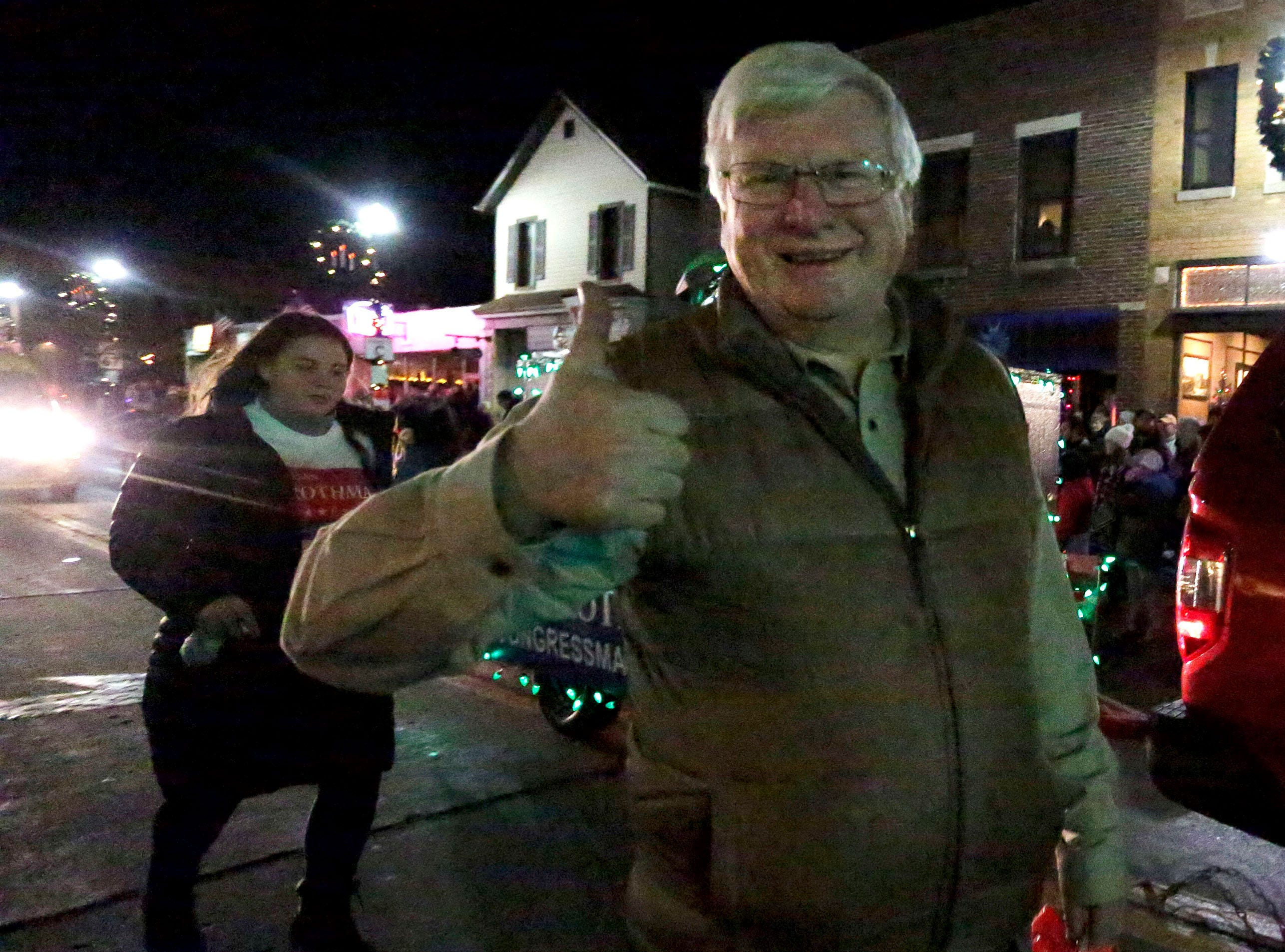 U.S. Representative Glenn Grothman gives a thumbs up during the Plymouth Christmas Parade, Friday, November 23, 2018, in Plymouth, Wis.
