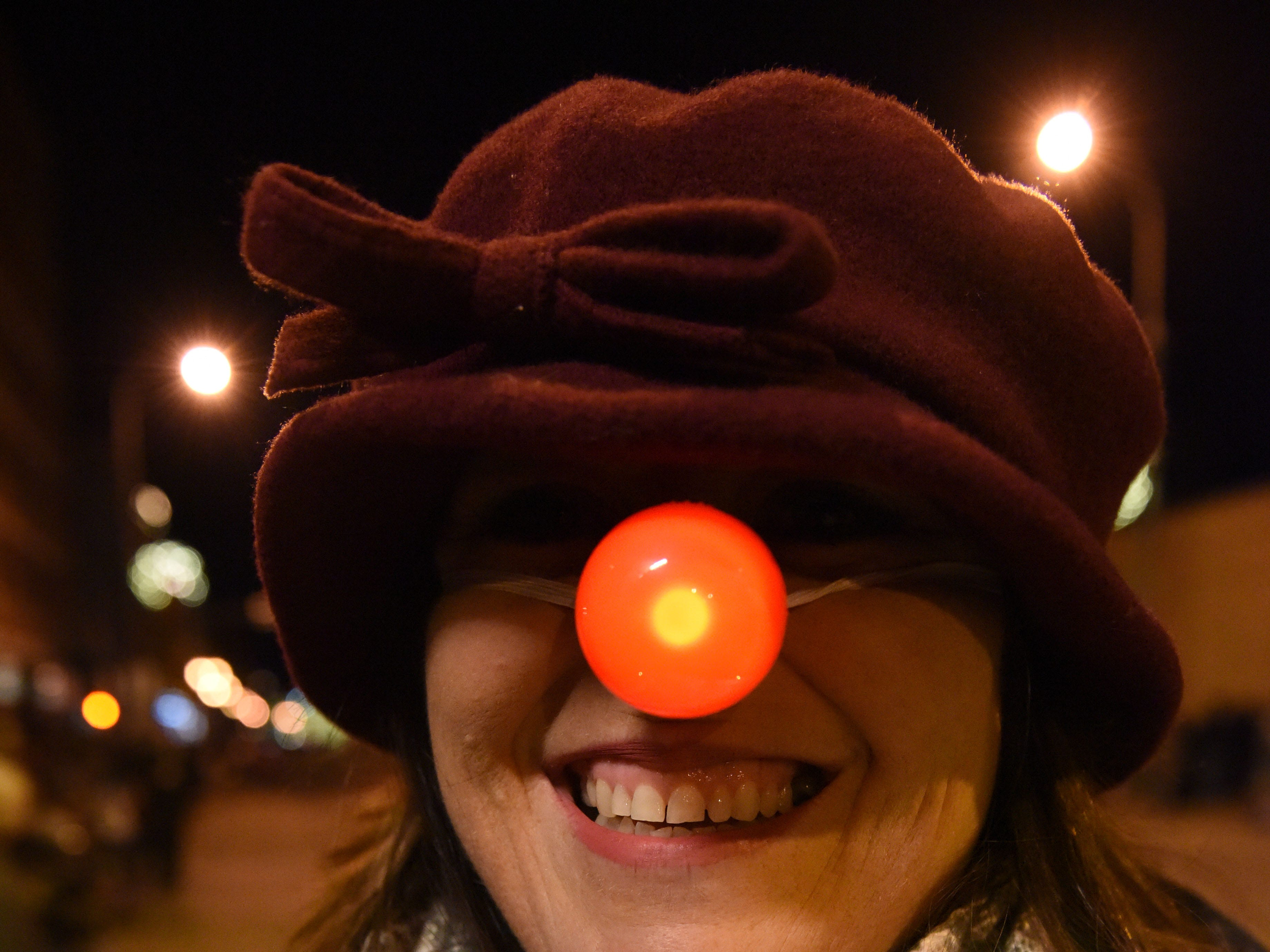 Leisha Watkins attends annual Parade of Lights in downtown Sioux Falls, S.D., Friday, Nov. 23, 2018.