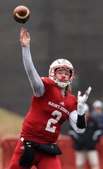 Jackson Erdmann of St. John'sthrows a pass during the Saturday, Nov. 24, game against Whitworth at Clemens Stadium in Collegeville.
