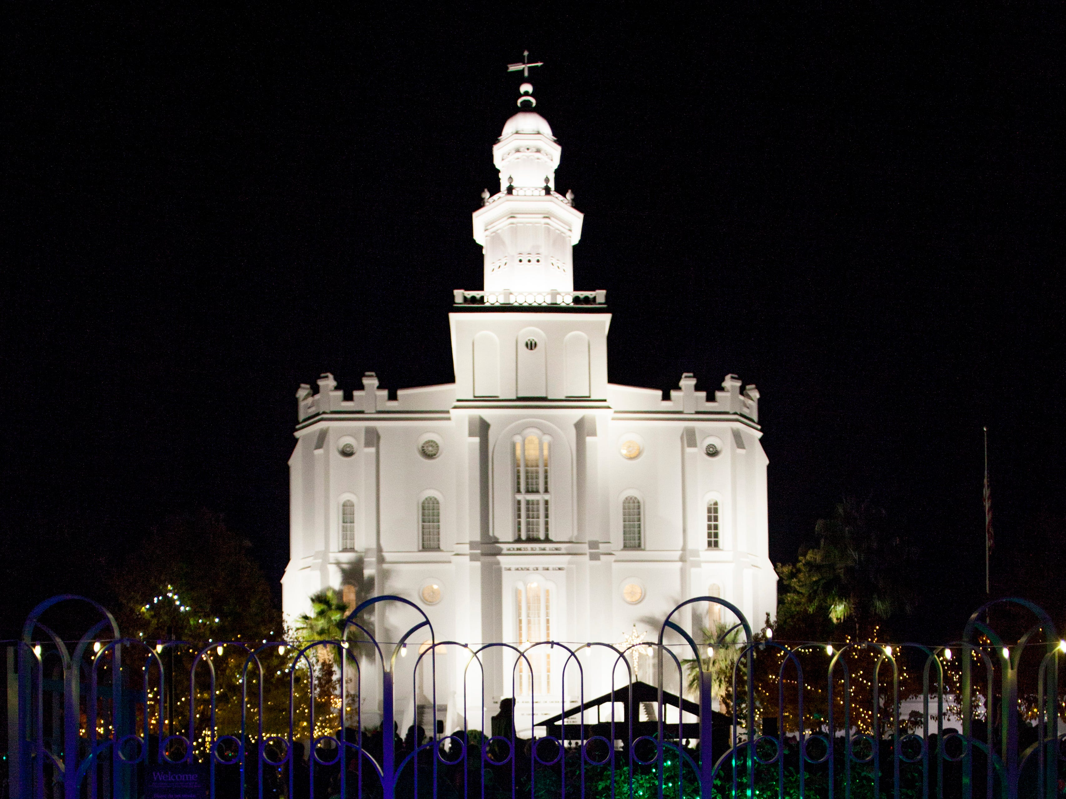 Washington County residents gather at the St. George LDS temple for the annual lighting ceremony Friday, Nov. 23, 2018.