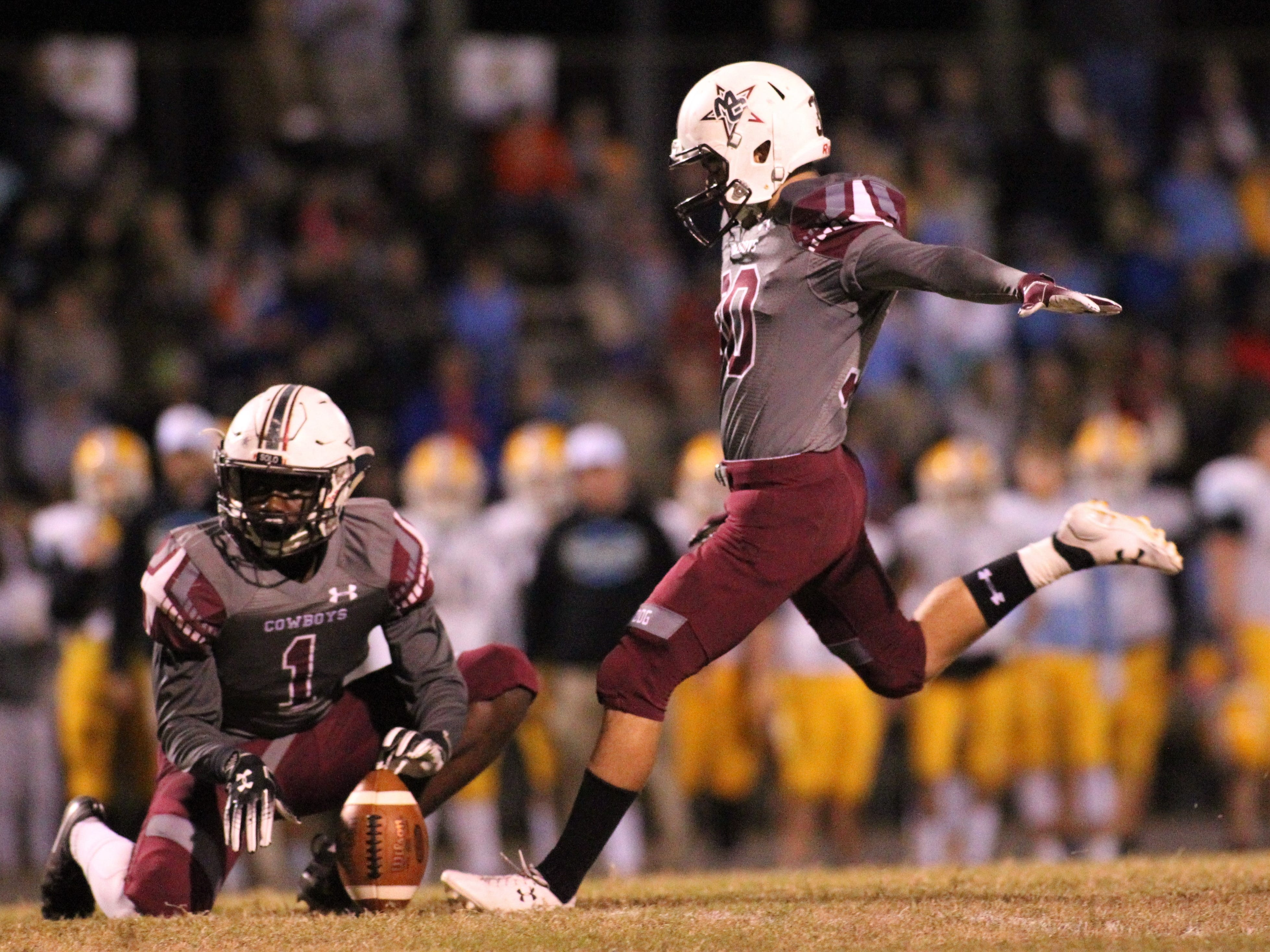 Thomas Miller made all seven of his extra points as Madison County beat Chiefland 49-14 in a Region 3-1A final at Boot Hill Stadium on Friday, Nov. 23, 2018.