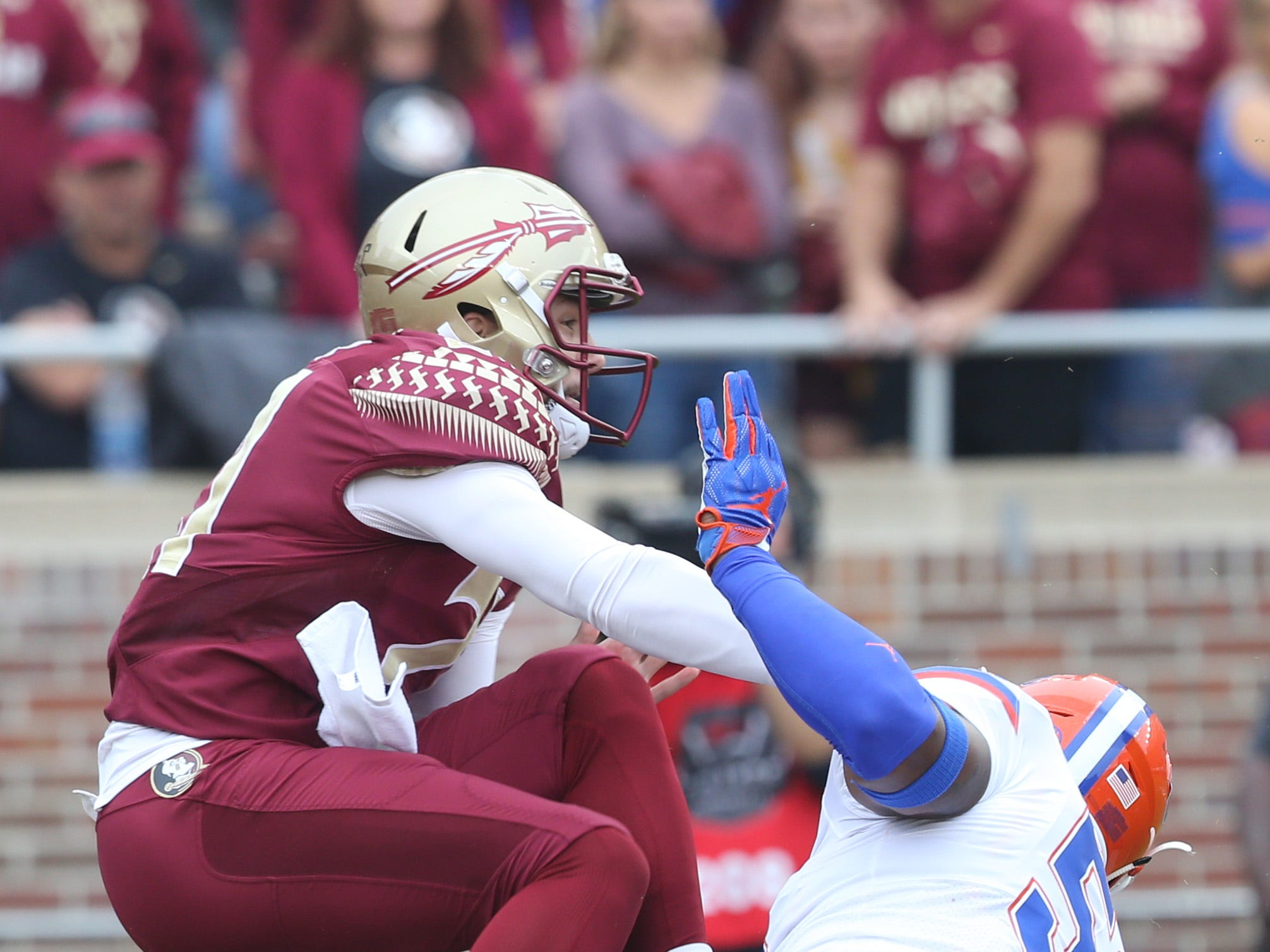 Florida Gators linebacker Ventrell Miller (51) is late to blocking the punt as the Florida State Seminoles take on their rival the Florida Gators in college football at Doak S. Campbell Stadium, Saturday, Nov. 24, 2018.