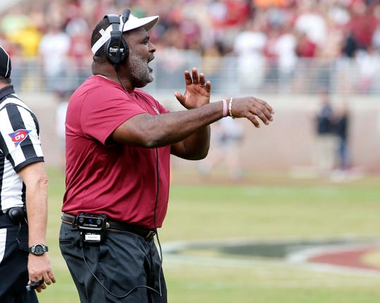 Nov 24, 2018; Tallahassee, FL, USA; Florida State Seminoles defensive coach Odell Haggins reacts to a play during the first half of action at Doak Campbell Stadium abasing the Florida Gators. Mandatory Credit: Glenn Beil-USA TODAY Sports