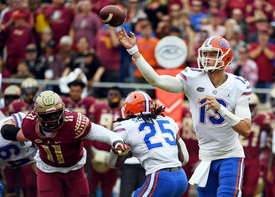 Nov 24, 2018; Tallahassee, FL, USA; Florida Gators quarterback Feleipe Franks (13) throws the ball during the first half against the Florida State Seminoles at Doak Campbell Stadium. Mandatory Credit: Melina Myers-USA TODAY Sports