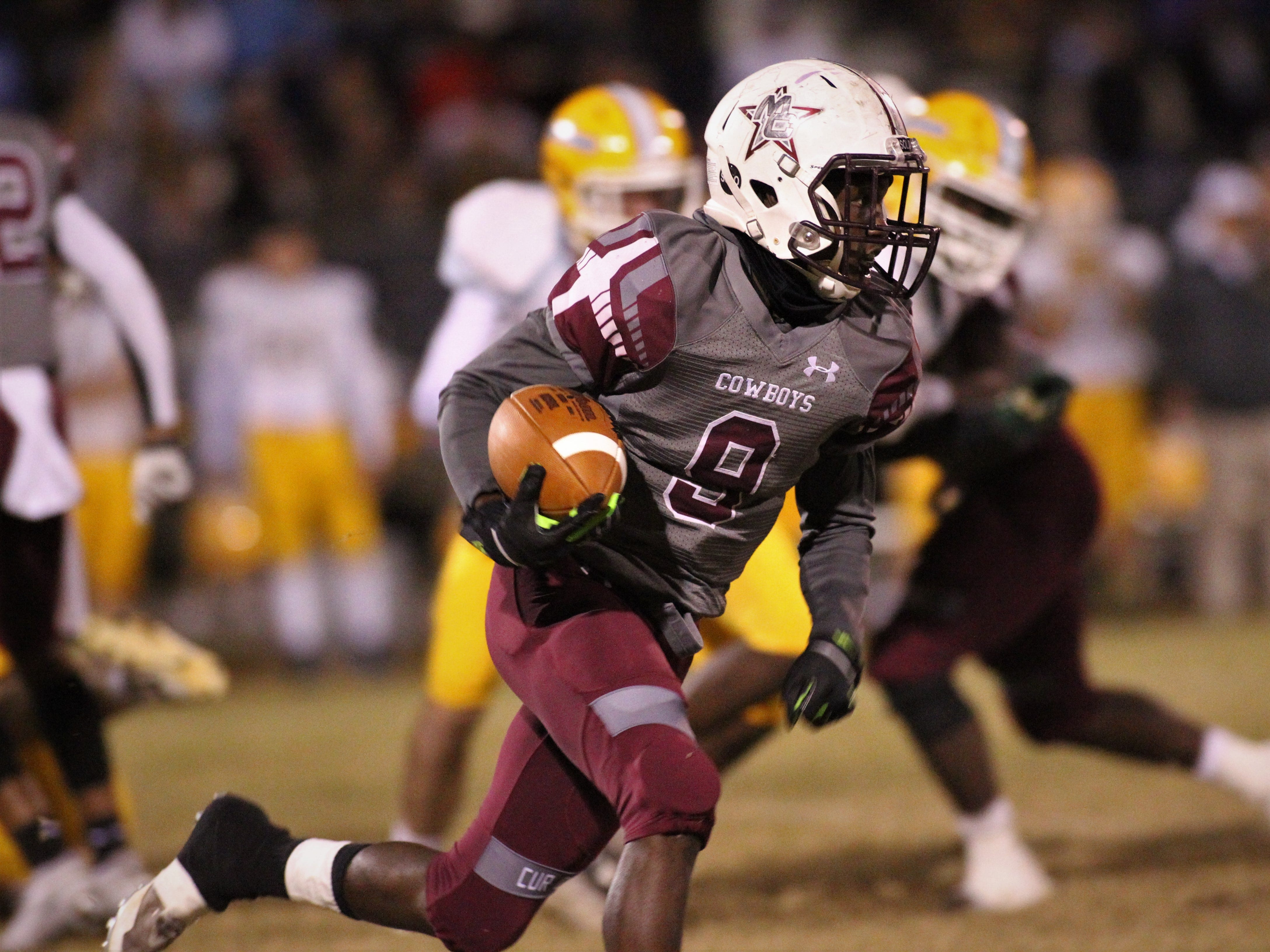 Derrion Staten returns a kickoff 50 yards as Madison County beat Chiefland 49-14 in a Region 3-1A final at Boot Hill Stadium on Friday, Nov. 23, 2018.