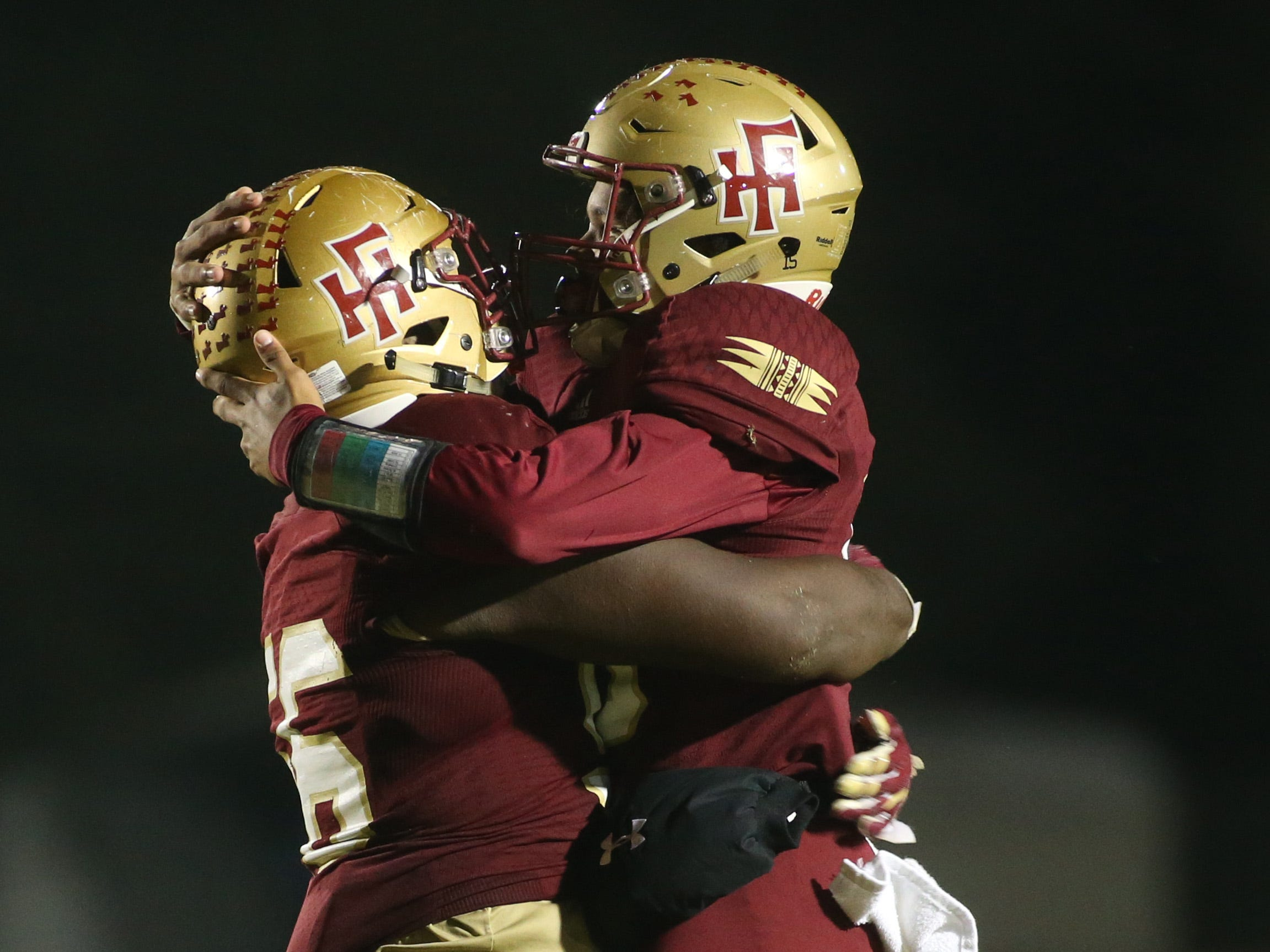 Florida High Seminoles celebrate a touchdown as the Taylor County Bulldogs play the Florida High Seminoles in a Region 1-3A final on Friday, Nov. 23, 2018.