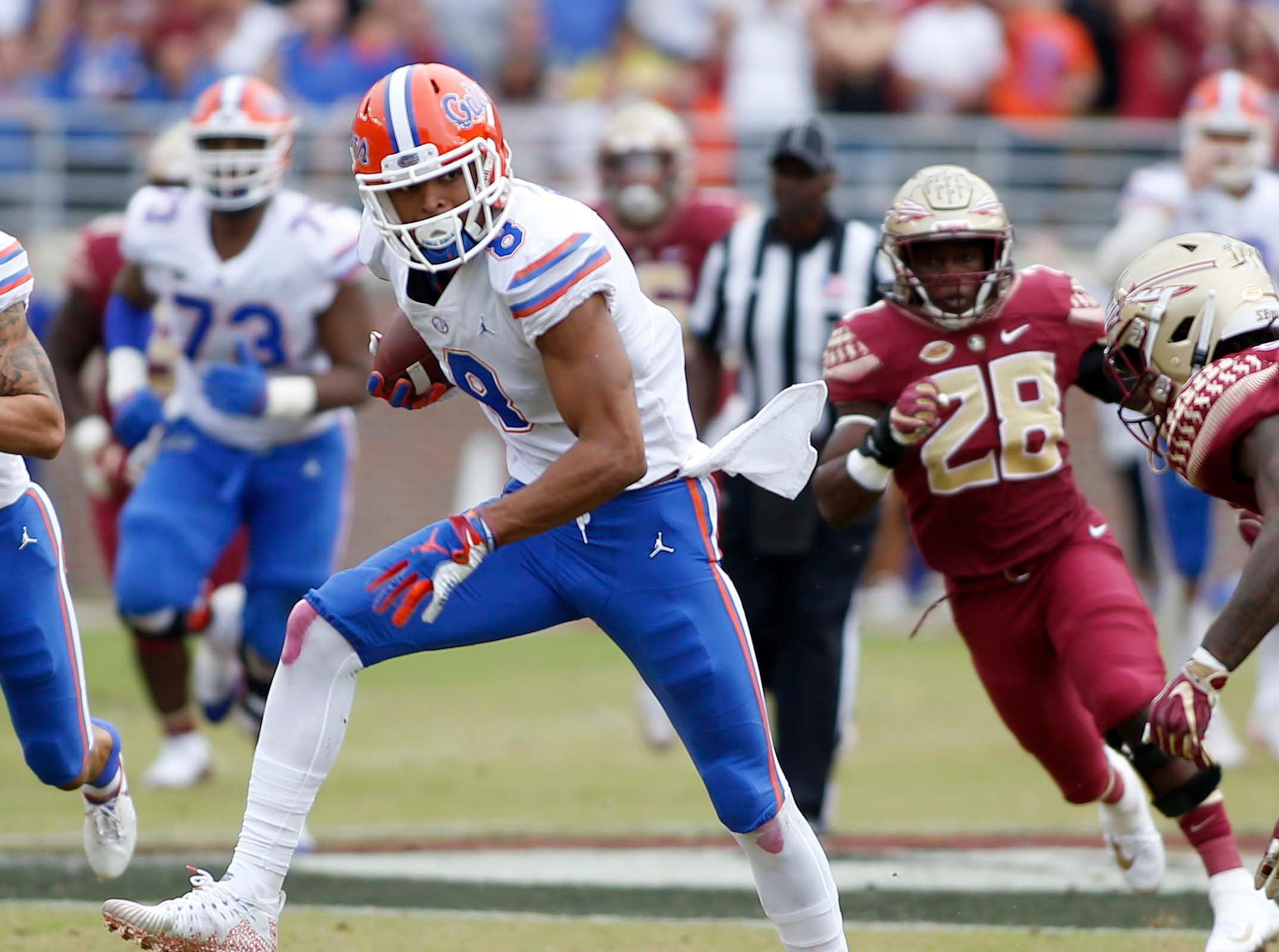 Nov 24, 2018; Tallahassee, FL, USA; Florida Gators wide receiver Trevon Grimes (8) runs after making a catch abasing the Florida State Seminoles during the first half of action at Doak Campbell Stadium. Mandatory Credit: Glenn Beil-USA TODAY Sports