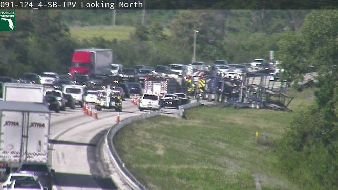 A crash at mile marker 124 on the northbound Turnpike near Hobe Sound.
