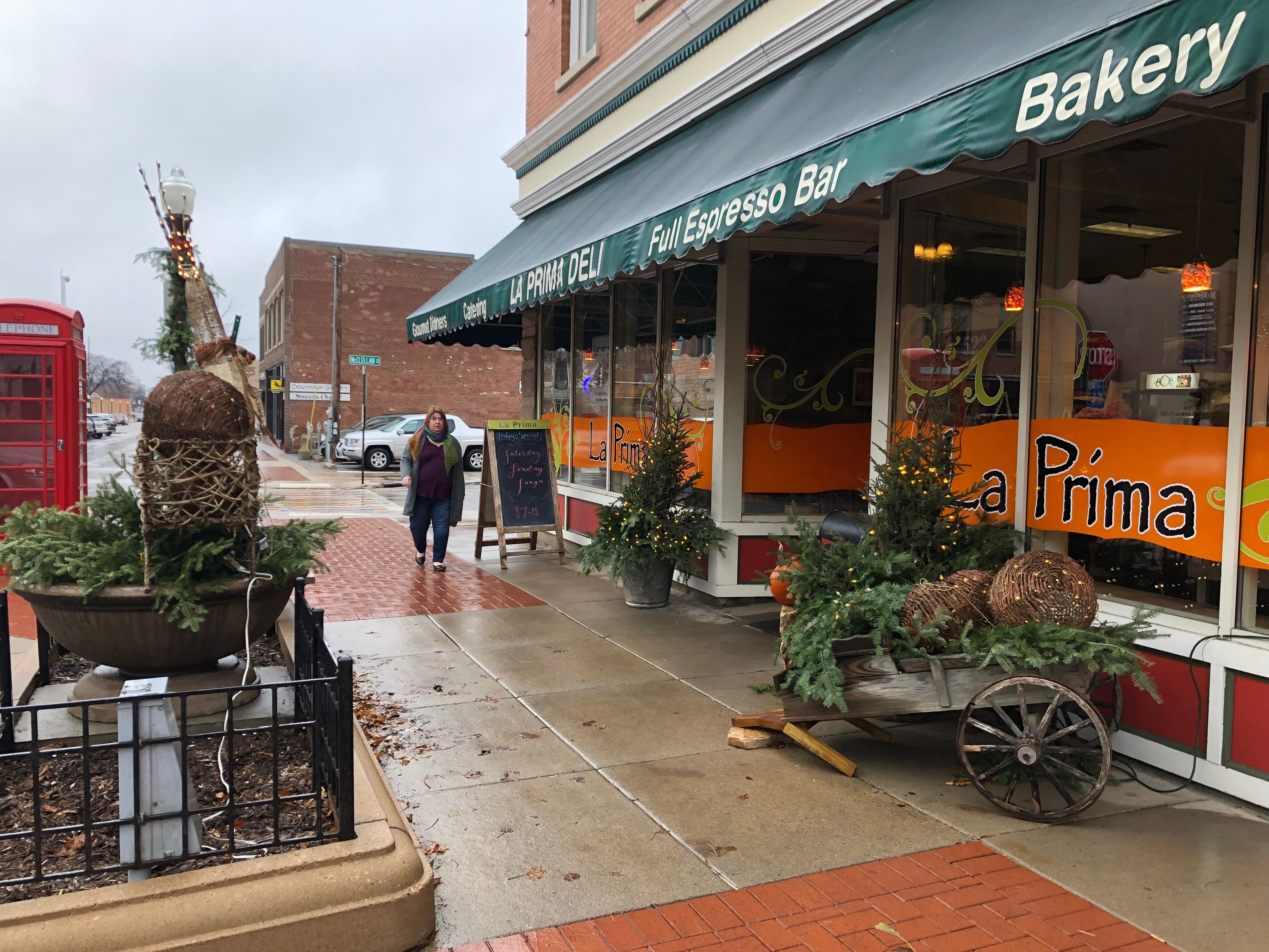Decorations outside of La Prima in downtown Wausau on Small Business Saturday.