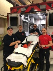 Wisconsin Rapids Fire Department paramedics Austin Erdman, Aaron Palbrach, Dustin Lease and intern Dan Shay helped deliver a baby boy Thanksgiving morning.