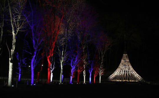 The Walk of Honor, leading the The Rising, is lit up Friday at the fifth annual Westchester's Winter Wonderland at Kensico Dam Plaza.