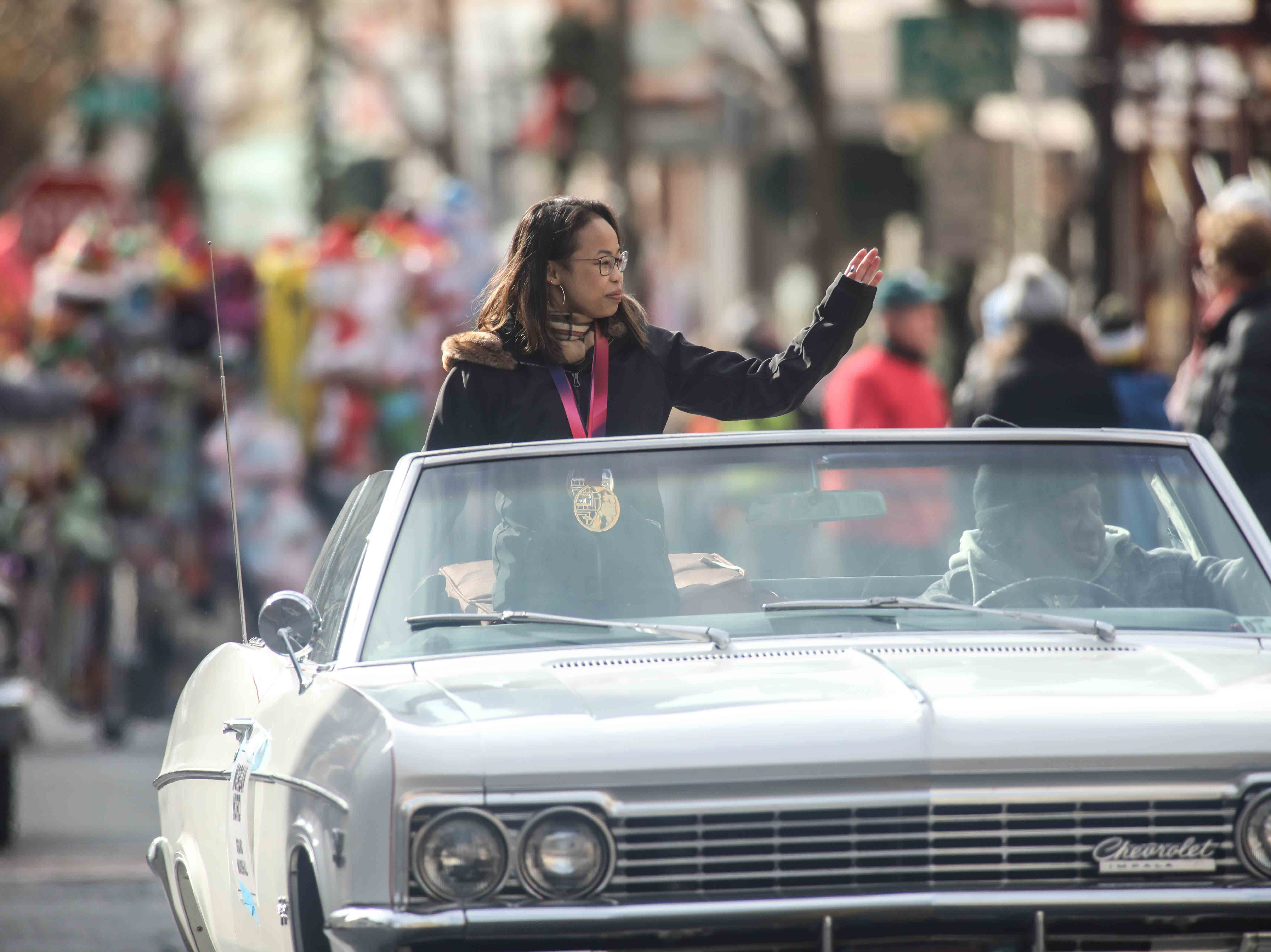 Grand Marshall World Champion Gymnast Morgan Hurd waves to spectators during the Wilmington Jaycees 55th Annual Christmas Parade along Market Street Saturday, Nov. 24, 2018, in Wilmington, Delaware.
