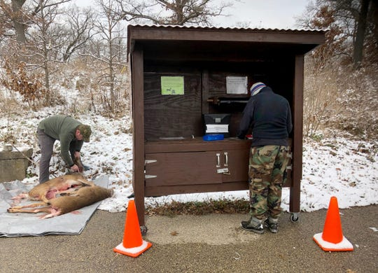 Kristin Braziunas fills out paperwork while Paul Boehnlein prepares the young buck and doe shot by Braziunas for testing for chronic wasting disease at the sampling site behind the Wisconsin Department of Natural Resources office in Fitchburg, Wis., on Nov. 17, 2018. Hunters must remove the head and upper neck of deer to test for CWD, which has spread through the state's captive and wild deer herds since 2002.