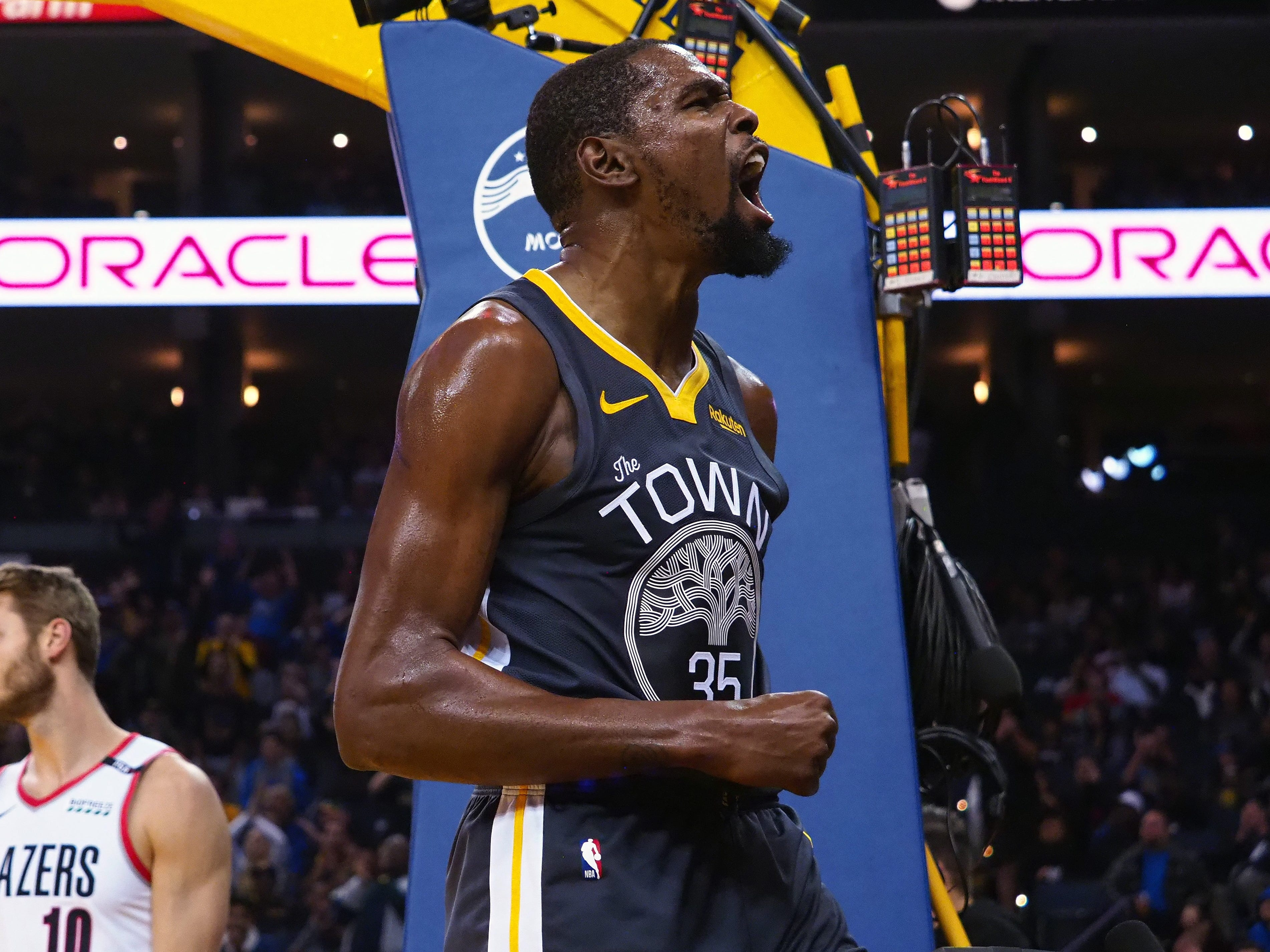 Nov. 23: Warriors forward Kevin Durant was fired up after a big bucket against the Trail Blazers in Oakland.