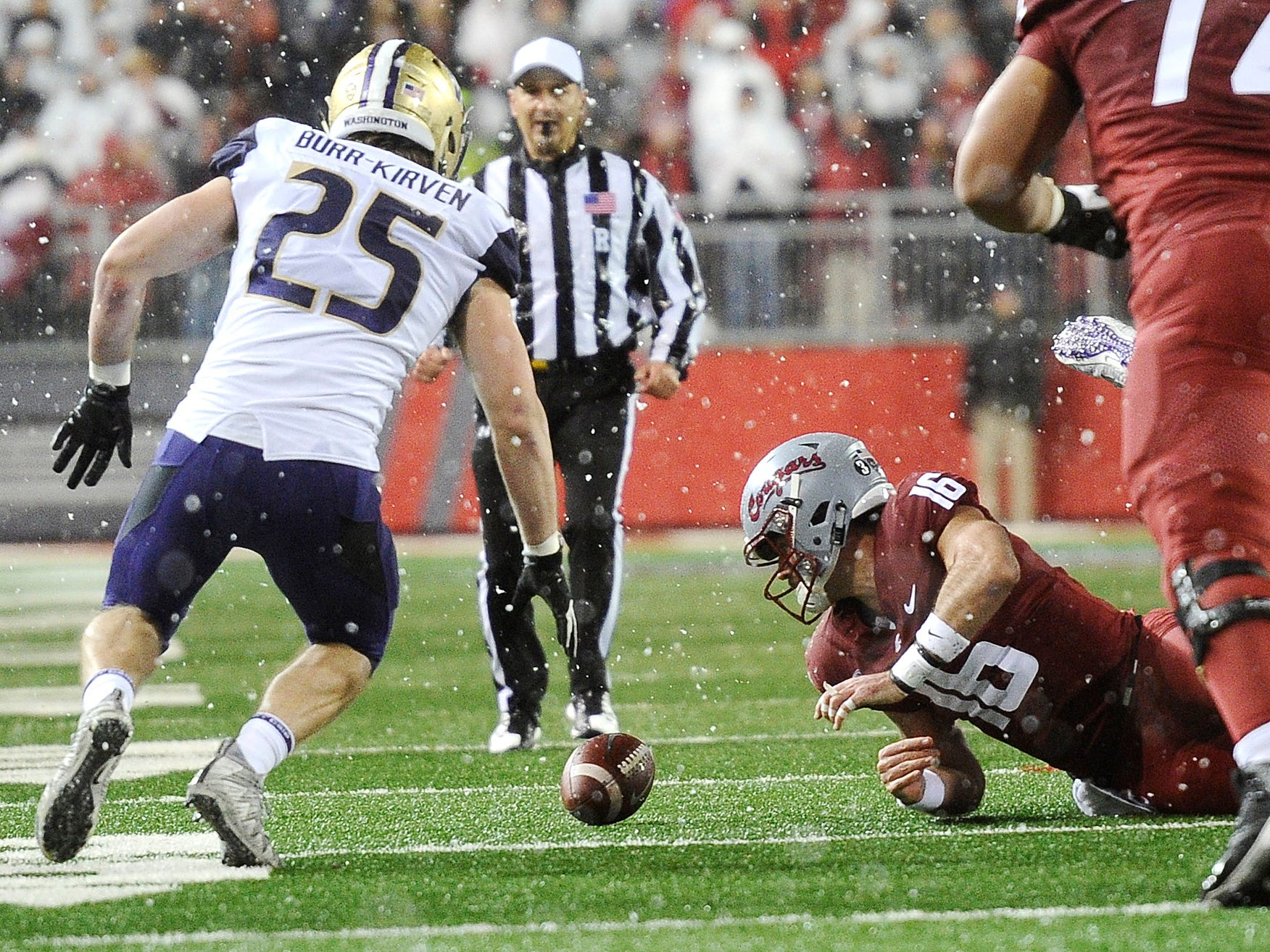 Washington State quarterback Gardner Minshew scrambles for the football after fumbling in the first half against Washington.