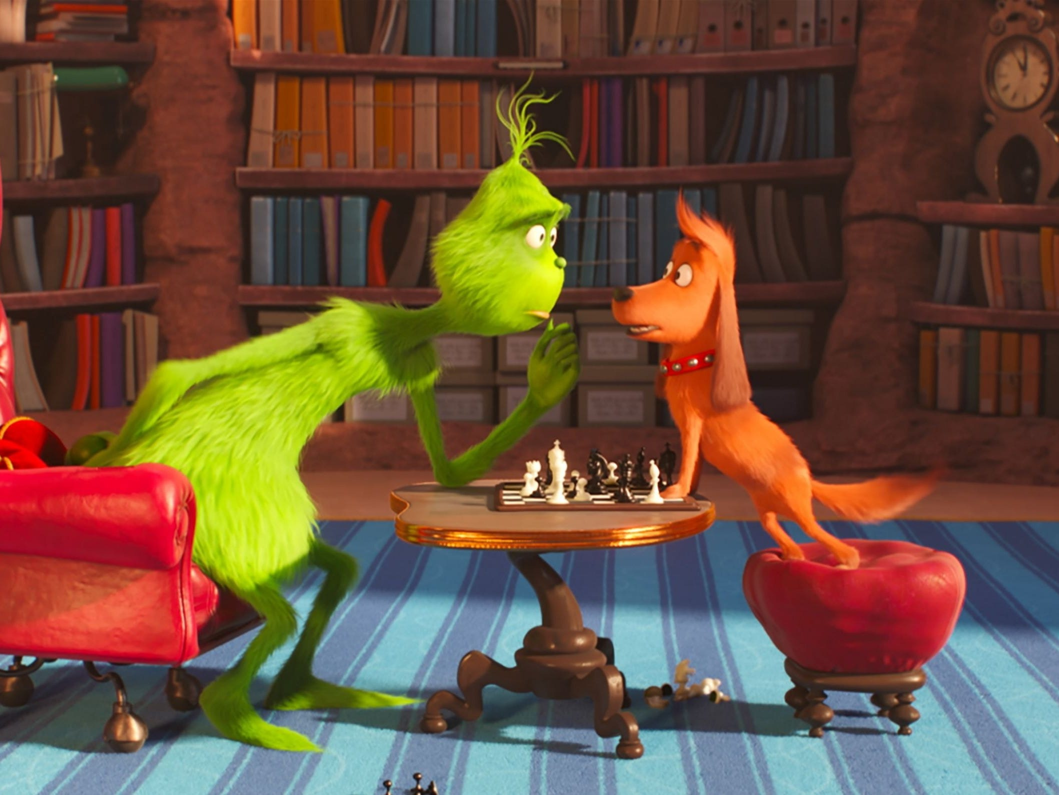 "How bad is the Grinch? He cheats at chess with his dog Max in ""The Grinch."" That's low!"