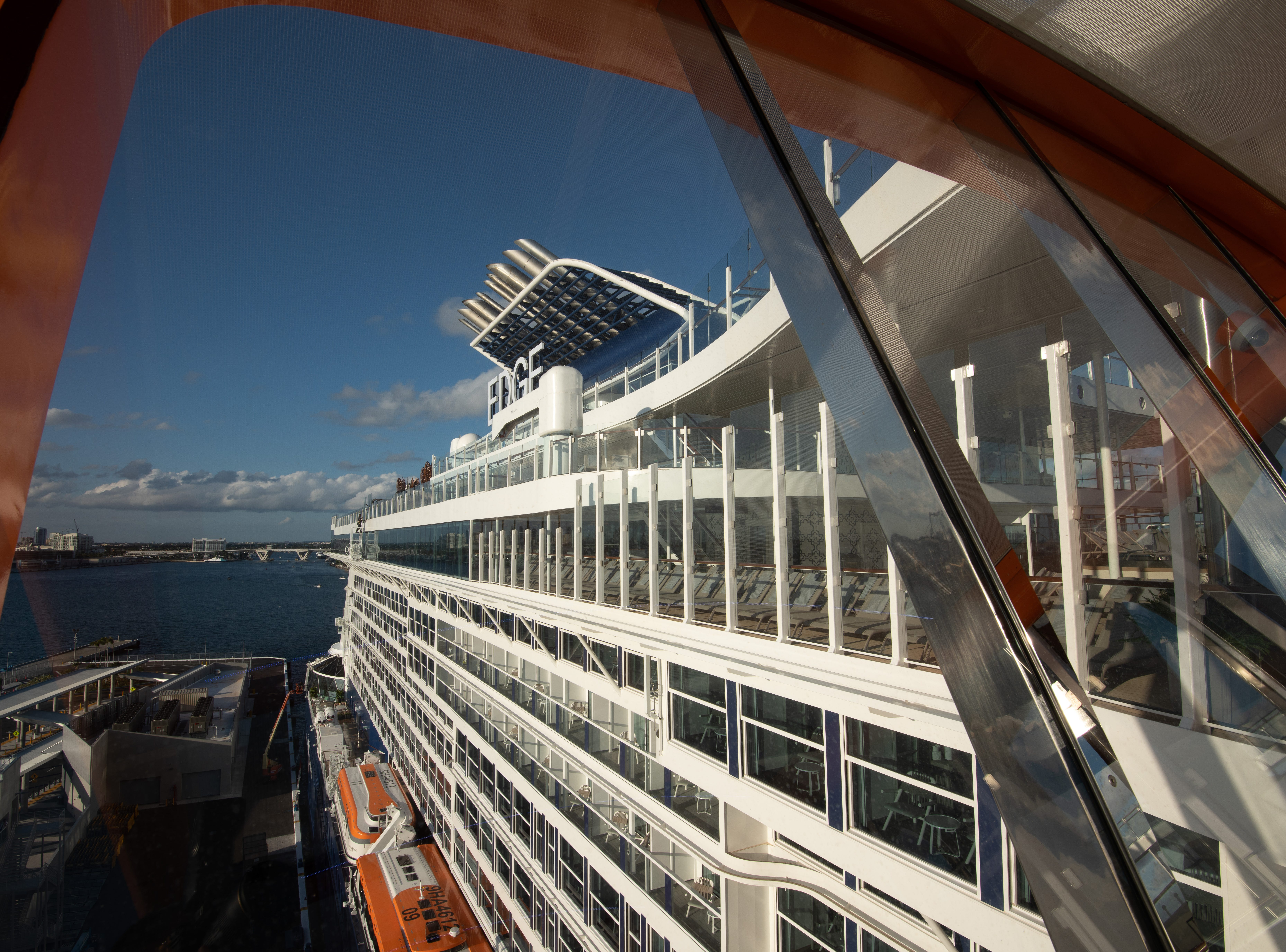 Passengers lounging on the Magic Carpet have stunning views back at the ship.