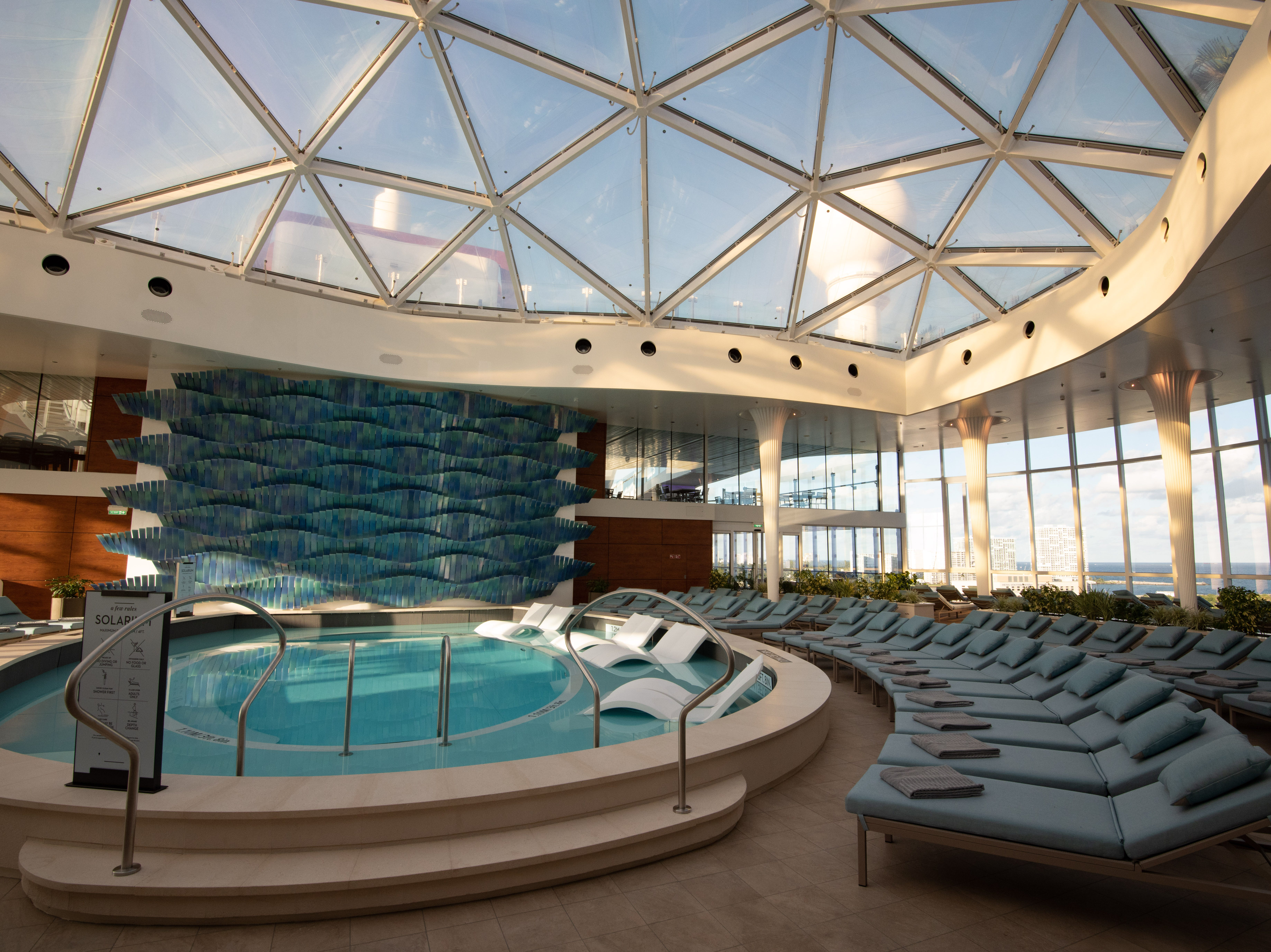 Like other Celebrity ships, Celebrity Edge is home to a covered, adults-only Solarium. The Solariuum on Edge was designed in collaboration with renowned British architect Tom Wright.