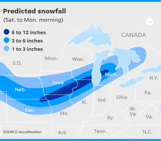 Map shows the predicted snowfall across the upper Midwest from Saturday morning to Monday morning