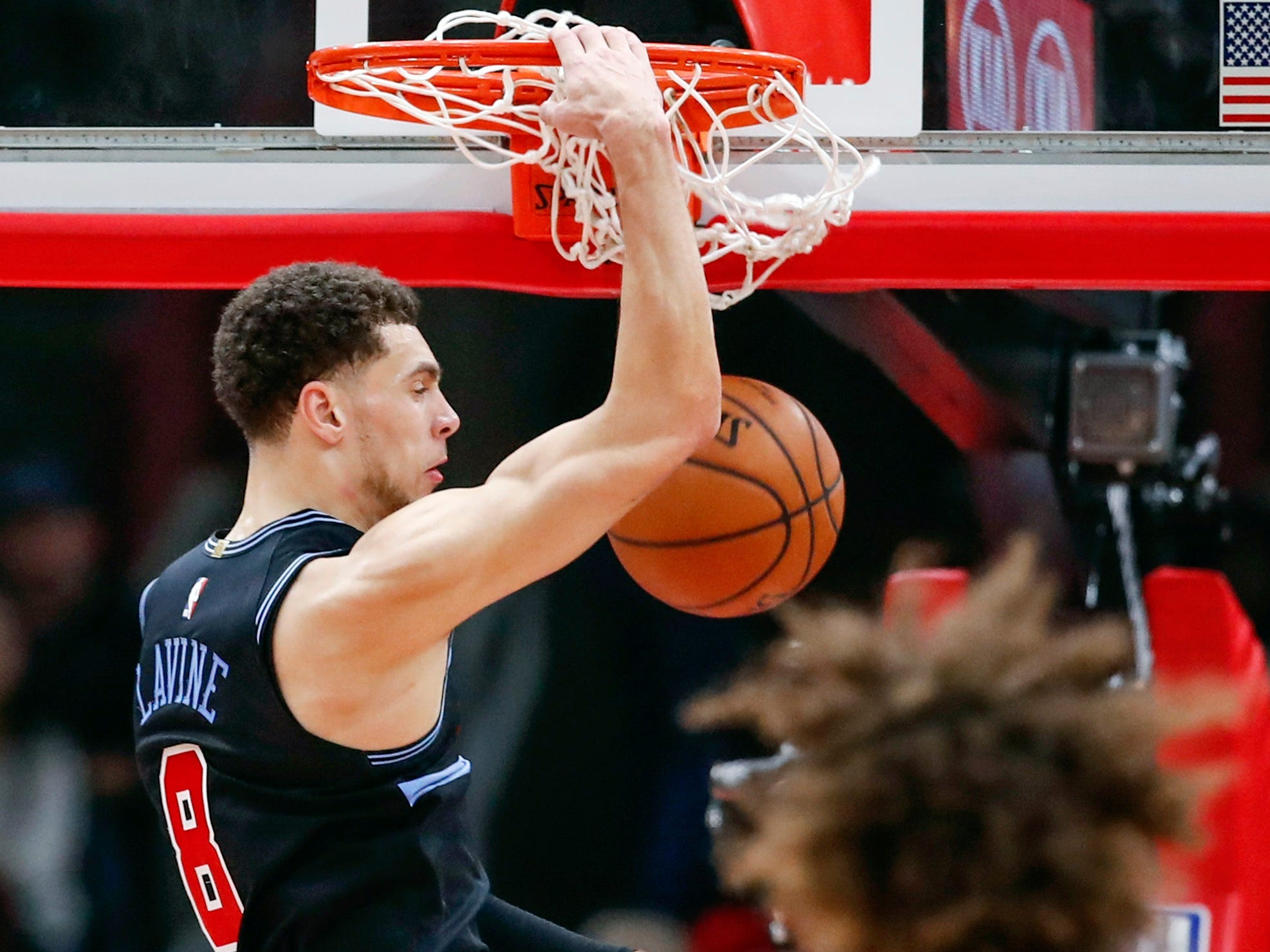 Nov. 23: Bulls guard Zach LaVine throws down a monster one-handed slam during the second half against the Heat in Miami.