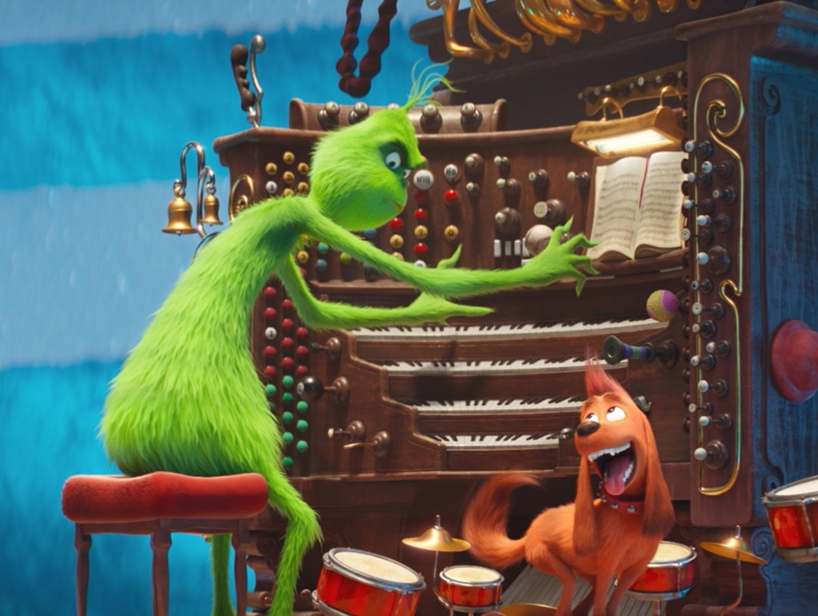 The Grinch (voiced by Benedict Cumberbatch) is not solo on the organ as Max joins in on drums.