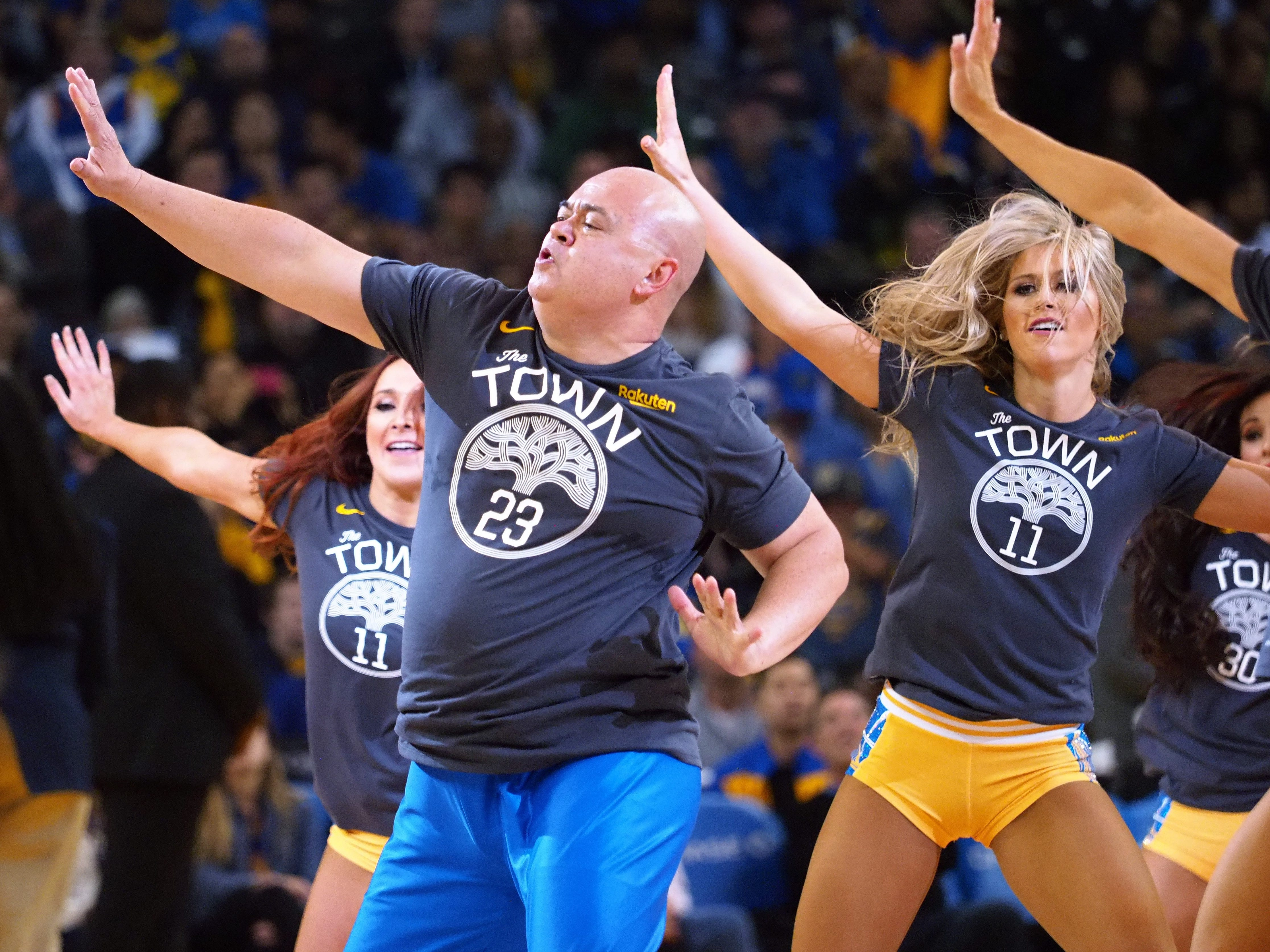 Nov. 23: Warriors dancers perform during a break in the action against the Trail Blazers.