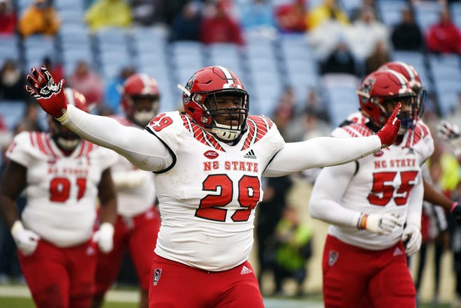 North Carolina State Wolfpack defensive tackle Alim McNeill after a  stop during the first half  against the North Carolina Tar Heels at Kenan Memorial Stadium.