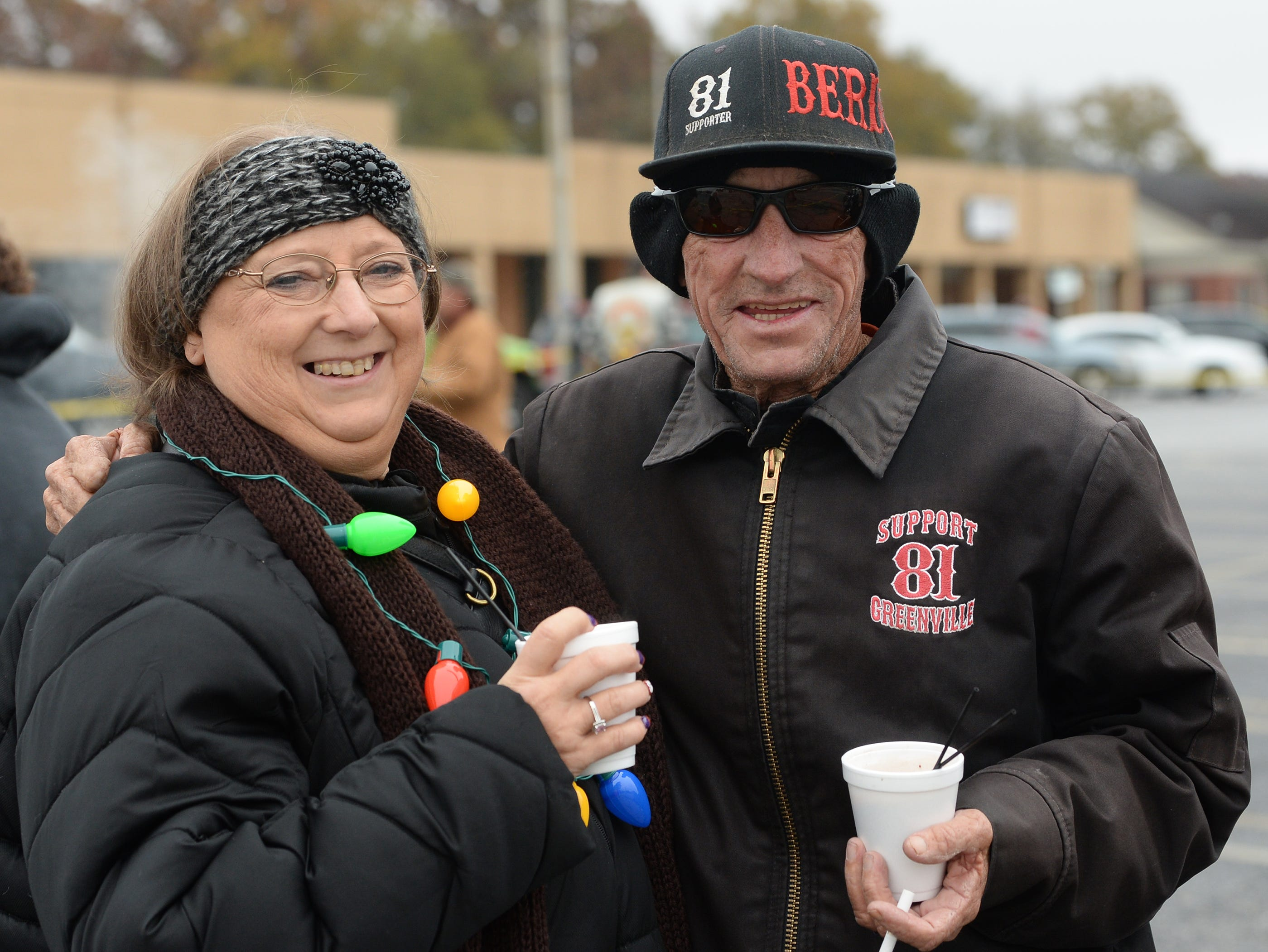 """Stacy Simmons, left, and Robert """"Squirrel"""" Simmons of Central, before the 38th Jack Hurley Toy Parade in Anderson on Sunday, November 25, 2018. The parade started at White Jones Hardware parking lot in the Watson Village, followed along Main Street to the Civic Center of Anderson where toys were donated to Anderson Cares and Shares. Organizer Robert """"Little Man"""" Fagg said about 350 families are helped out with toys for Christmas."""