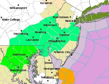 The mint-green sections of the map were under a flood advisory overnight Nov. 25, 2018.