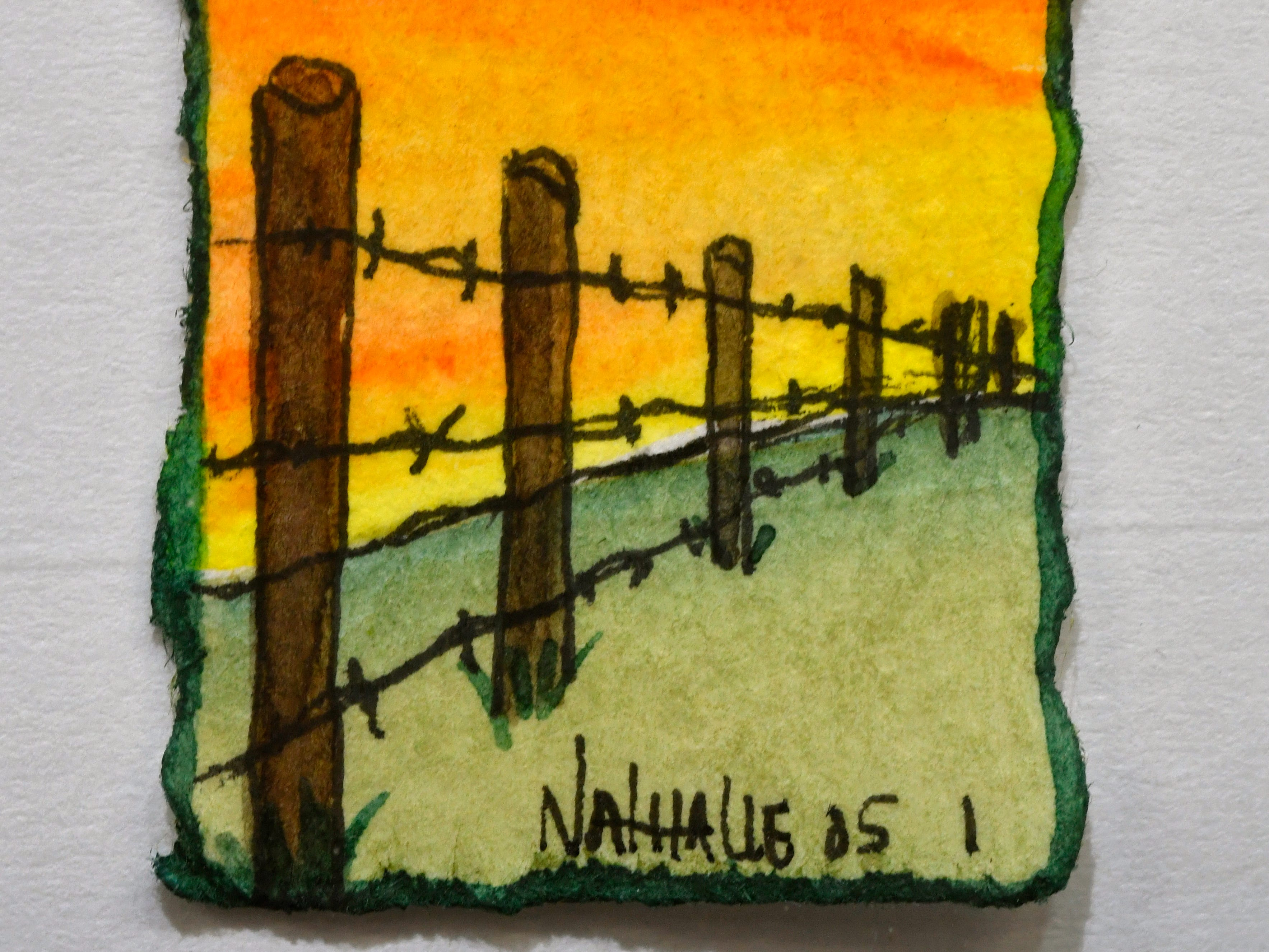"""Nathalie Kelley's """"Fence Posts"""", a watercolor painting about two inches tall, on display at the 1818 Arthouse Nov. 7, 2018. The Snyder gallery is holding their """"Tiny Art!"""" show until Dec. 22."""