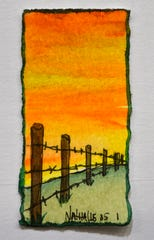 "Nathalie Kelley's ""Fence Posts"", a watercolor painting about two inches tall, on display at the 1818 Arthouse."