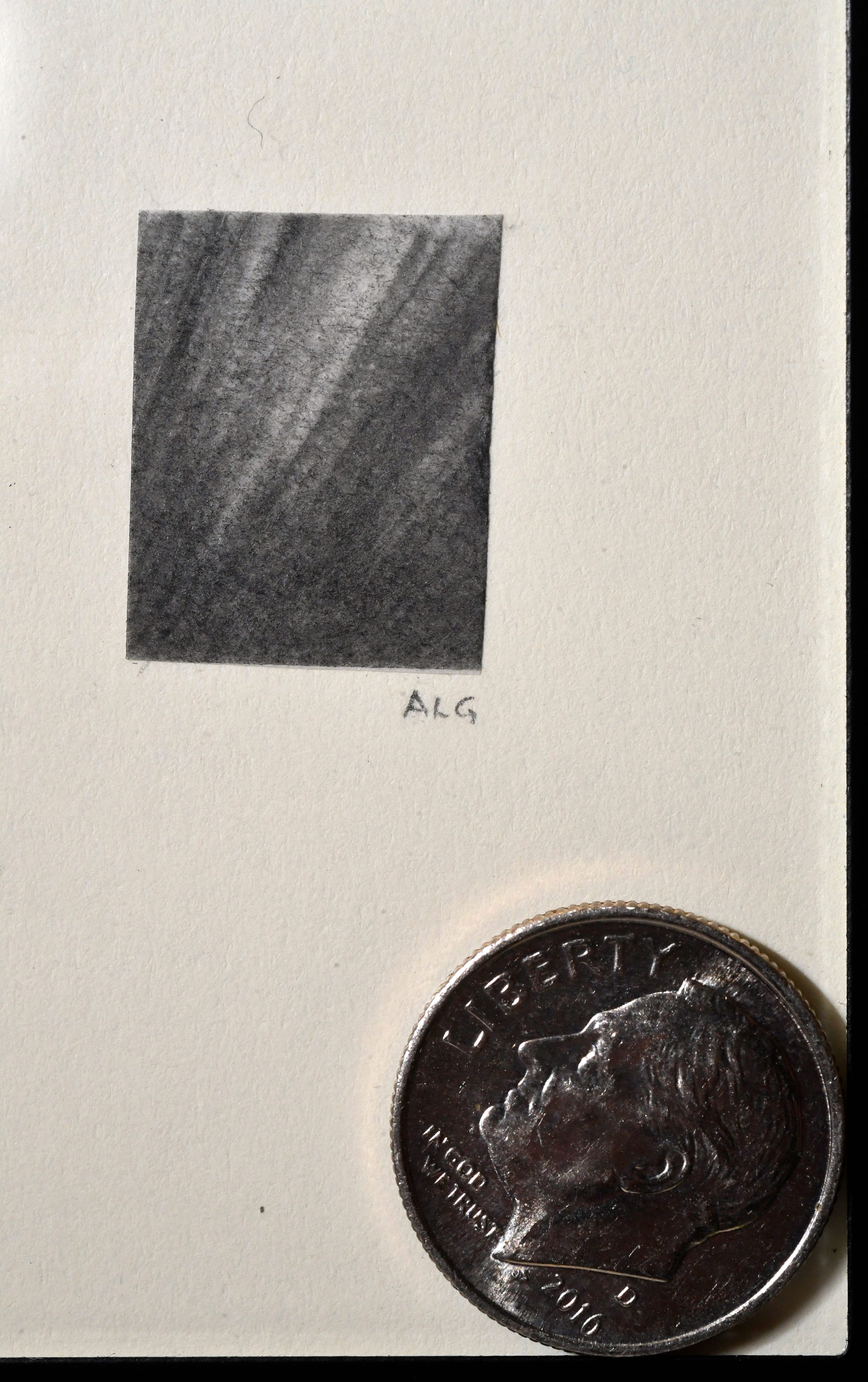 """Amanda Greenwood's """"The Breaking of the Dawn"""" won the award for tiniest art at the """"Tiny Art!"""" show at the 1818 Arthouse in Snyder. The surrealistic pencil drawing measures a half-inch. The dime is included for scale."""