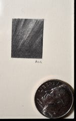 "Amanda Greenwood's ""The Breaking of the Dawn"" won the award for tiniest art at the ""Tiny Art!"" show at the 1818 Arthouse in Snyder. The surrealistic pencil drawing measures a half-inch. The dime is included for scale."